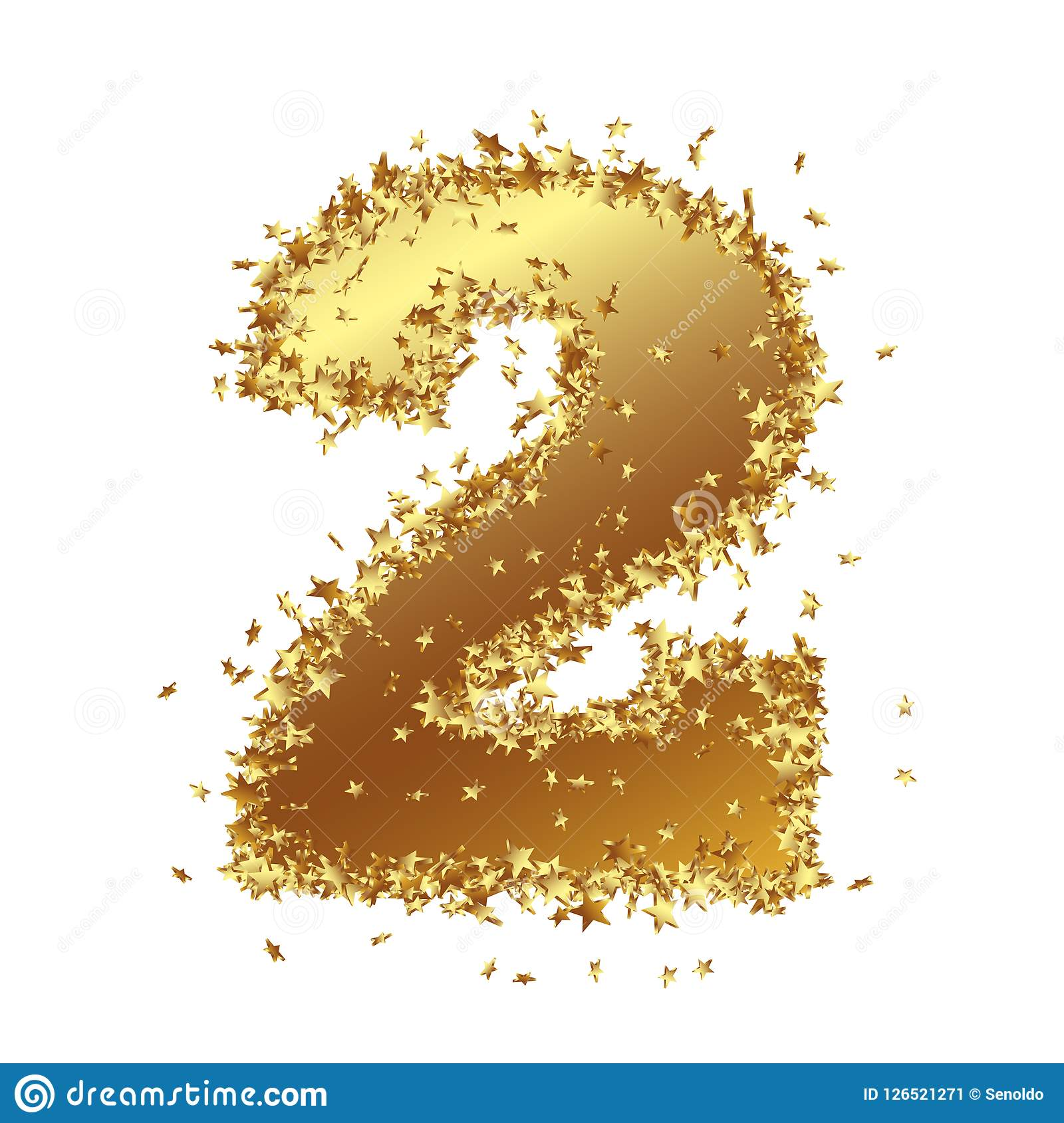 abstract golden number with starlet border two 2 birthday party new years eve jubilee number figure digit graphic illustration isolated on
