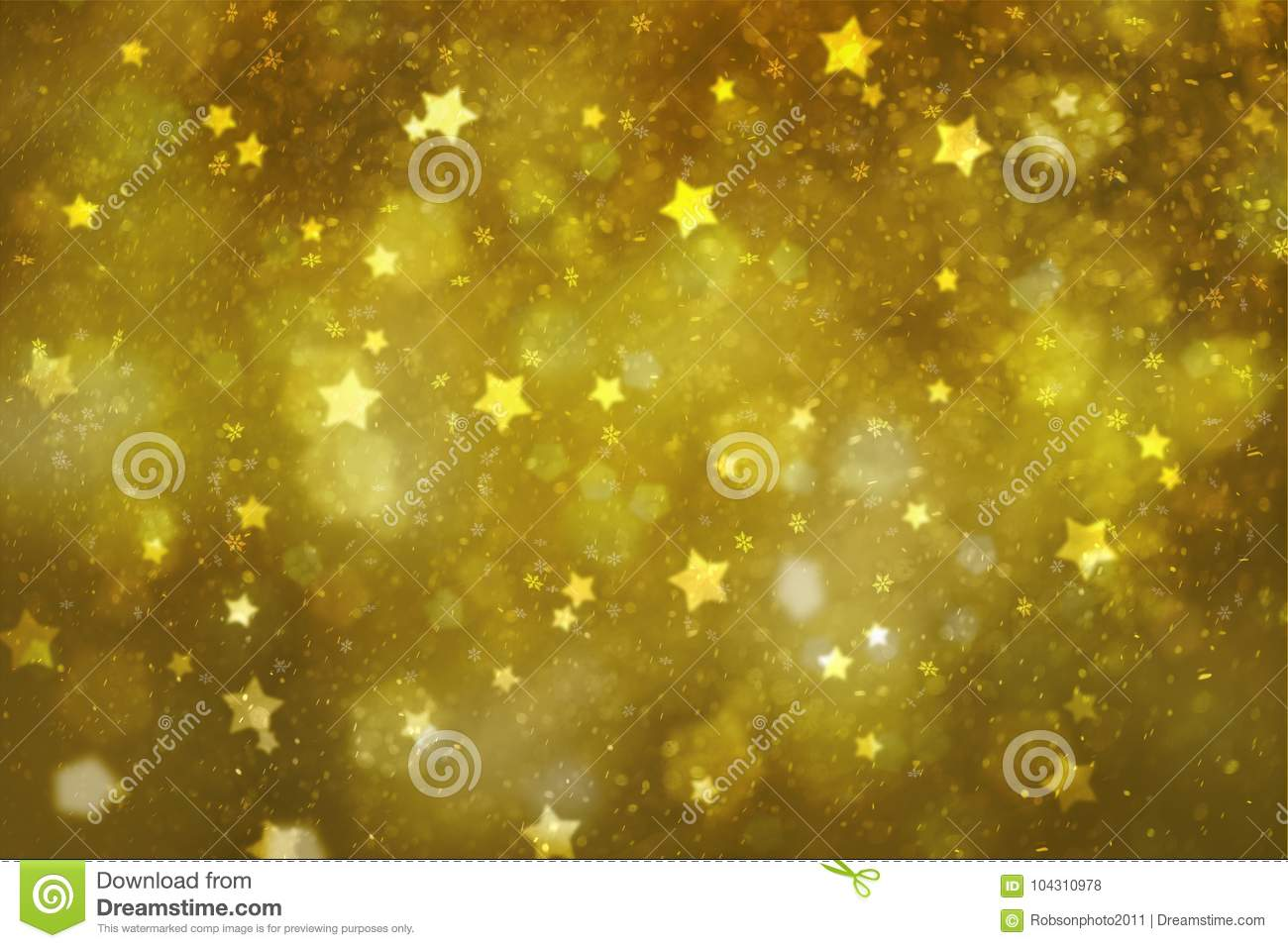 Abstract Golden Star And Heart Symbols Greeting Card Stock Photo