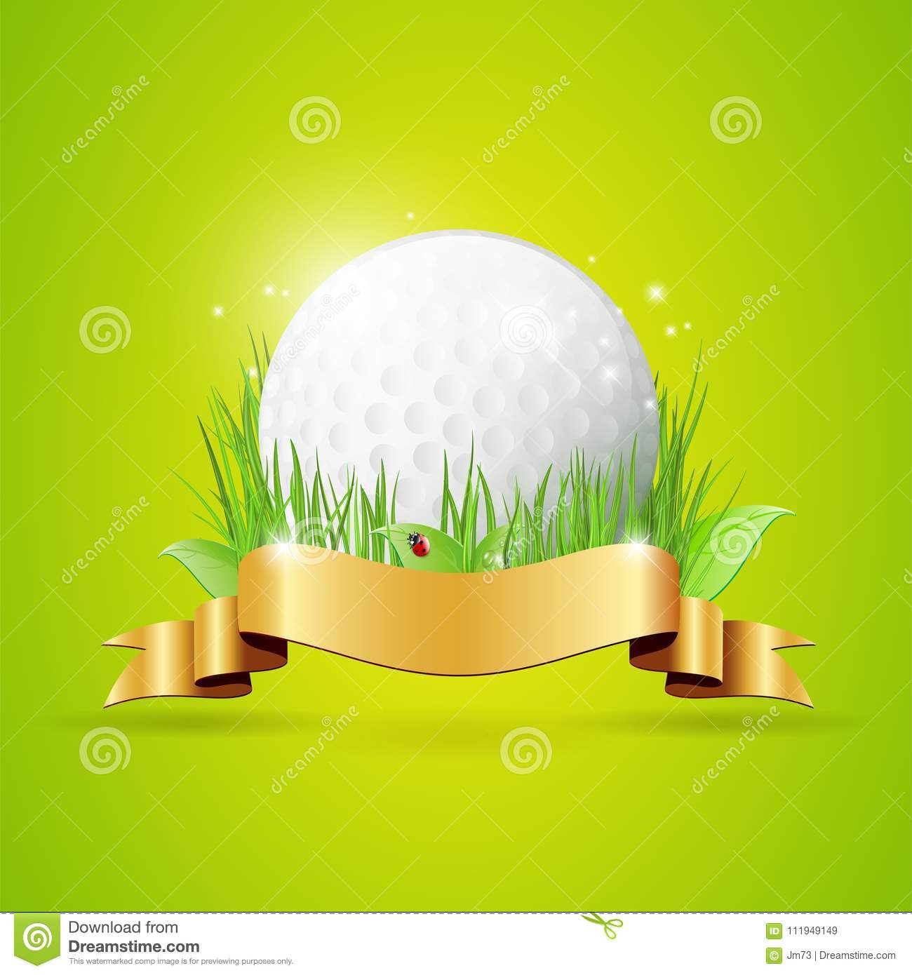Abstract golf background with ball, grass and golden ribbon