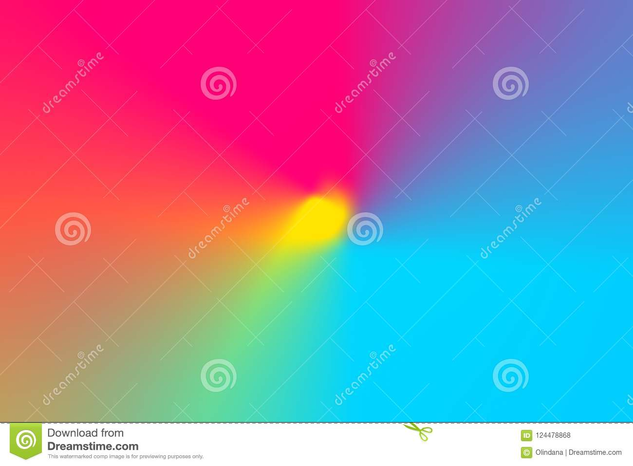 Abstract gradient blurred multicolored rainbow light spectrum radial background. Radial concentric pattern. Vivid neon Colors
