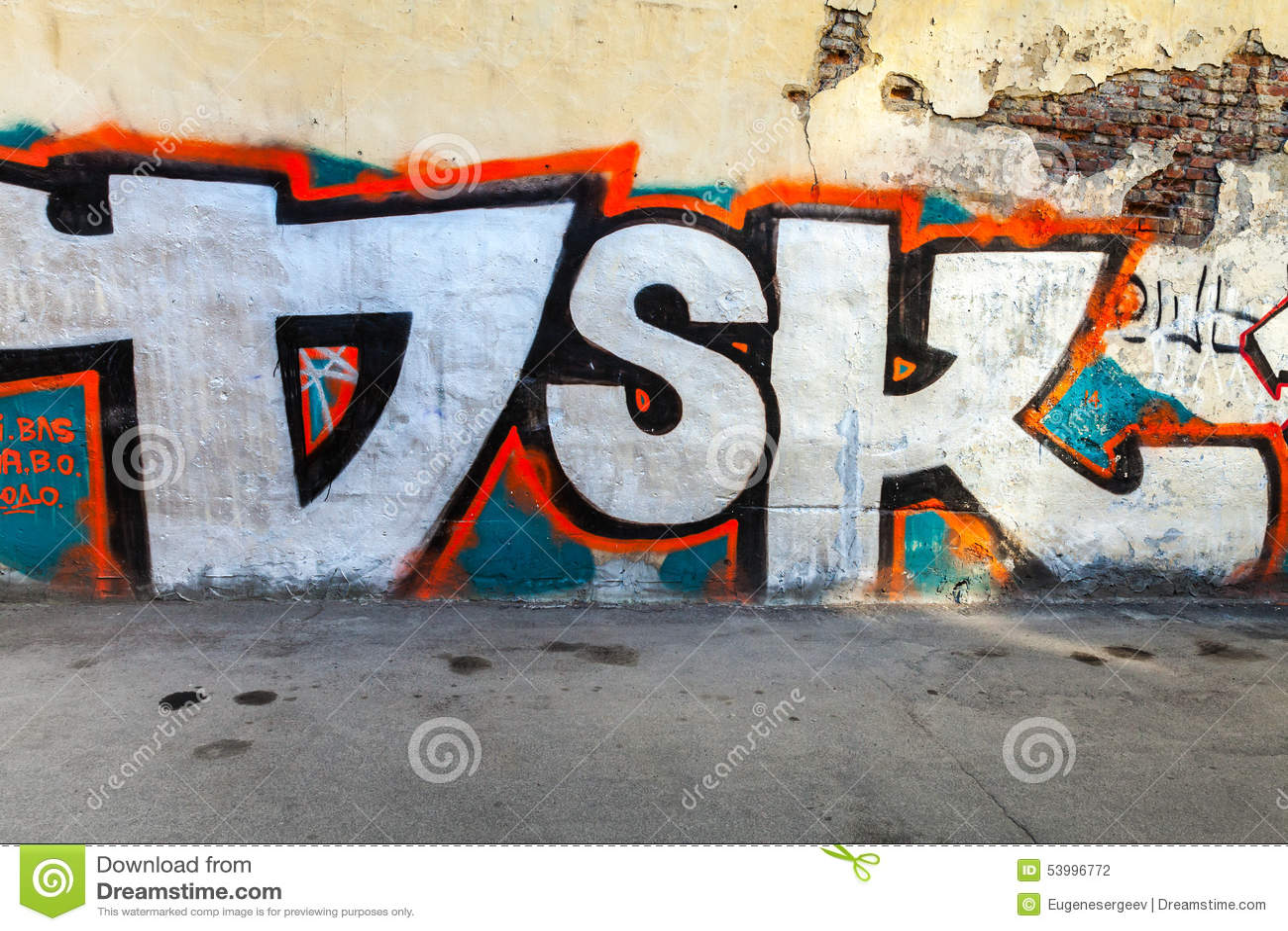 Graffiti wall writing - Abstract Graffiti Letters On Old Damaged Wall