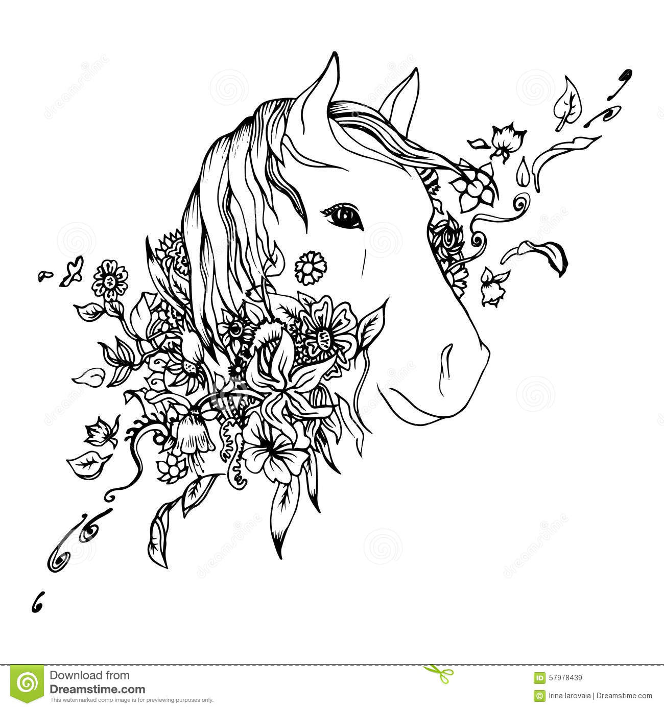 Abstract Graphic Horse Head, Print Stock Vector - Image