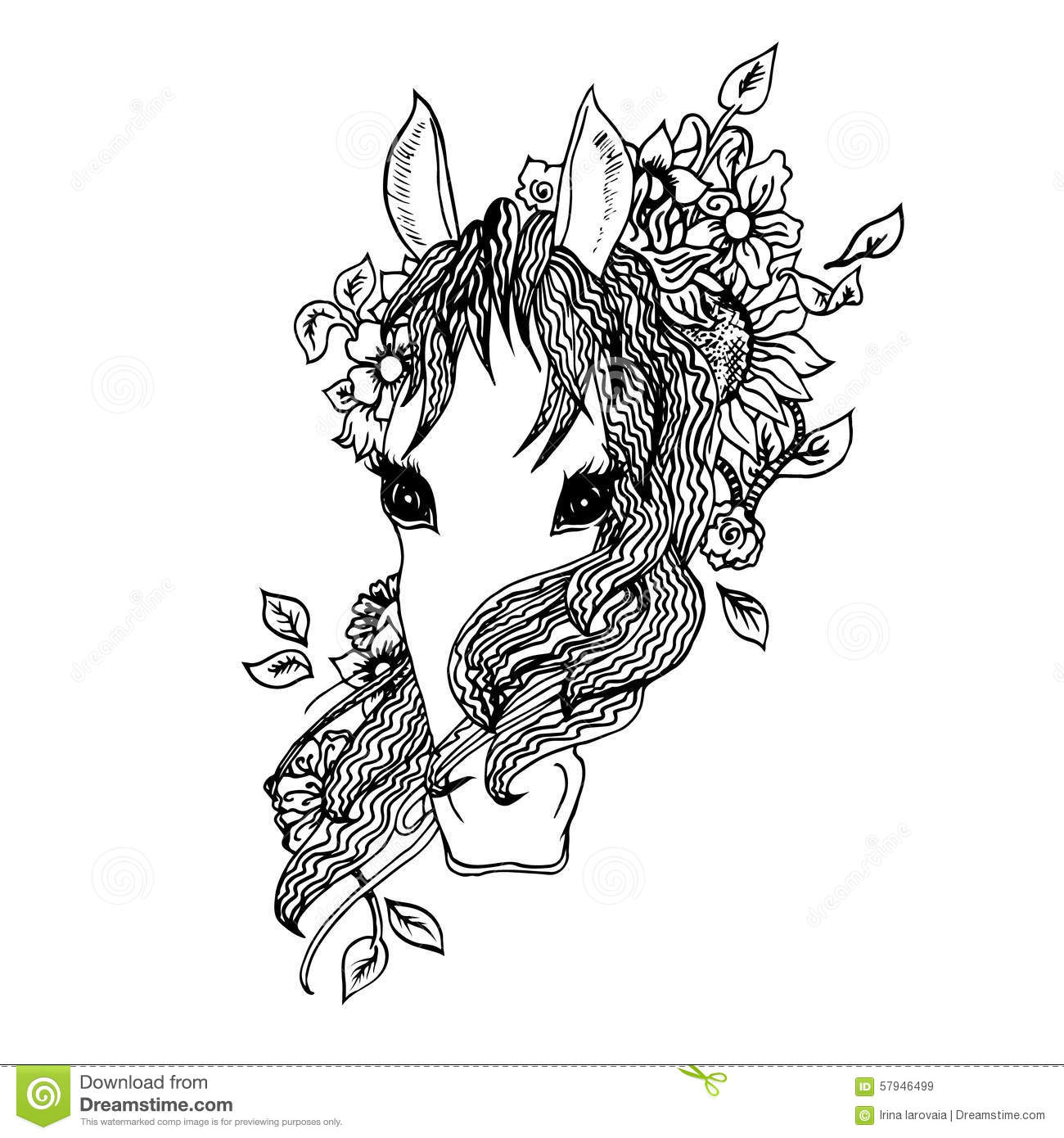 Abstract Graphic Horse Print Stock Vector Illustration
