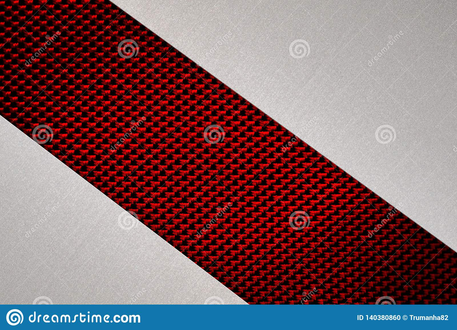 Abstract Gray Brushed Metal on Red Fibers Texture Background