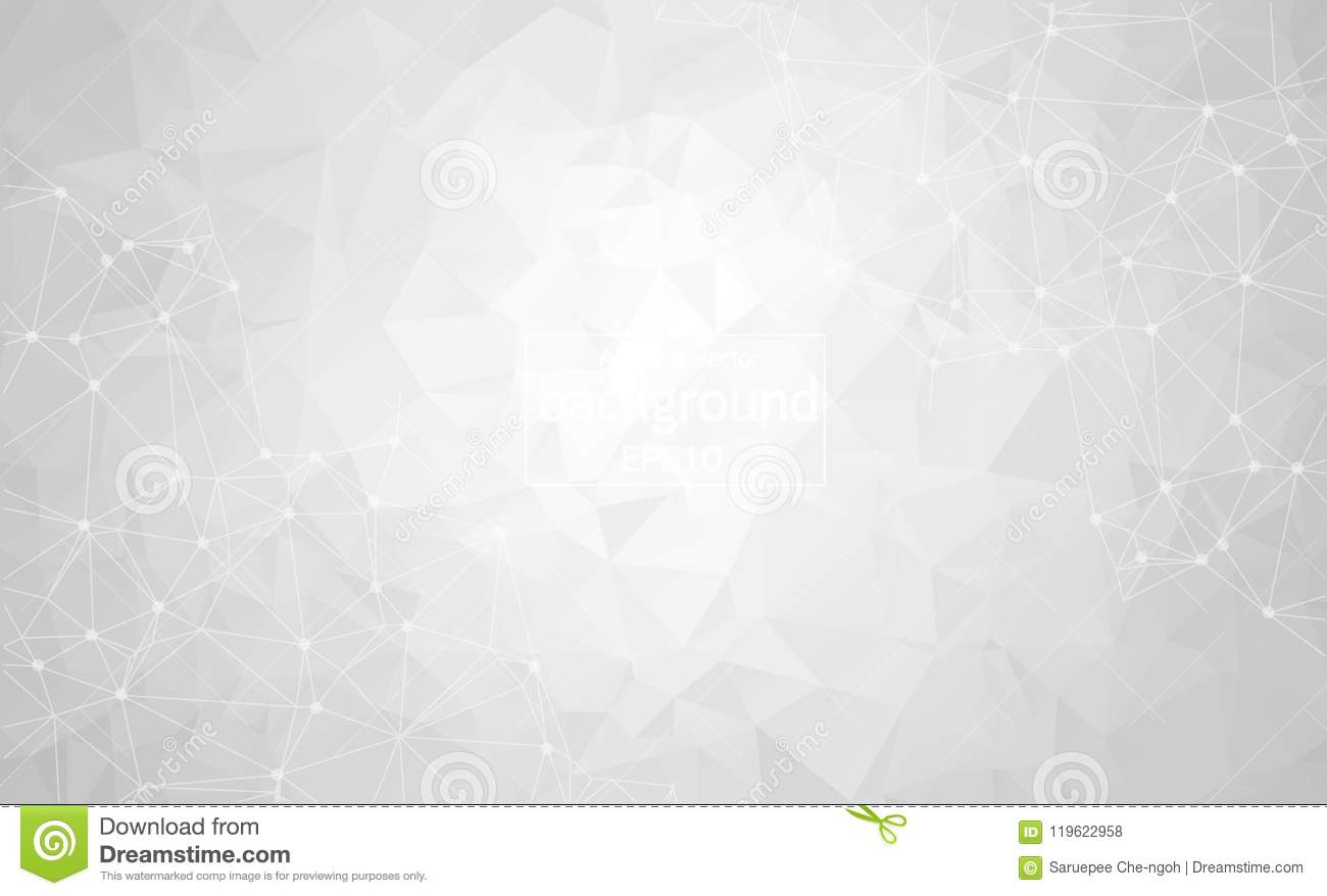 Abstract Gray Light Geometric Polygonal background molecule and communication. Connected lines with dots. Concept of the science,