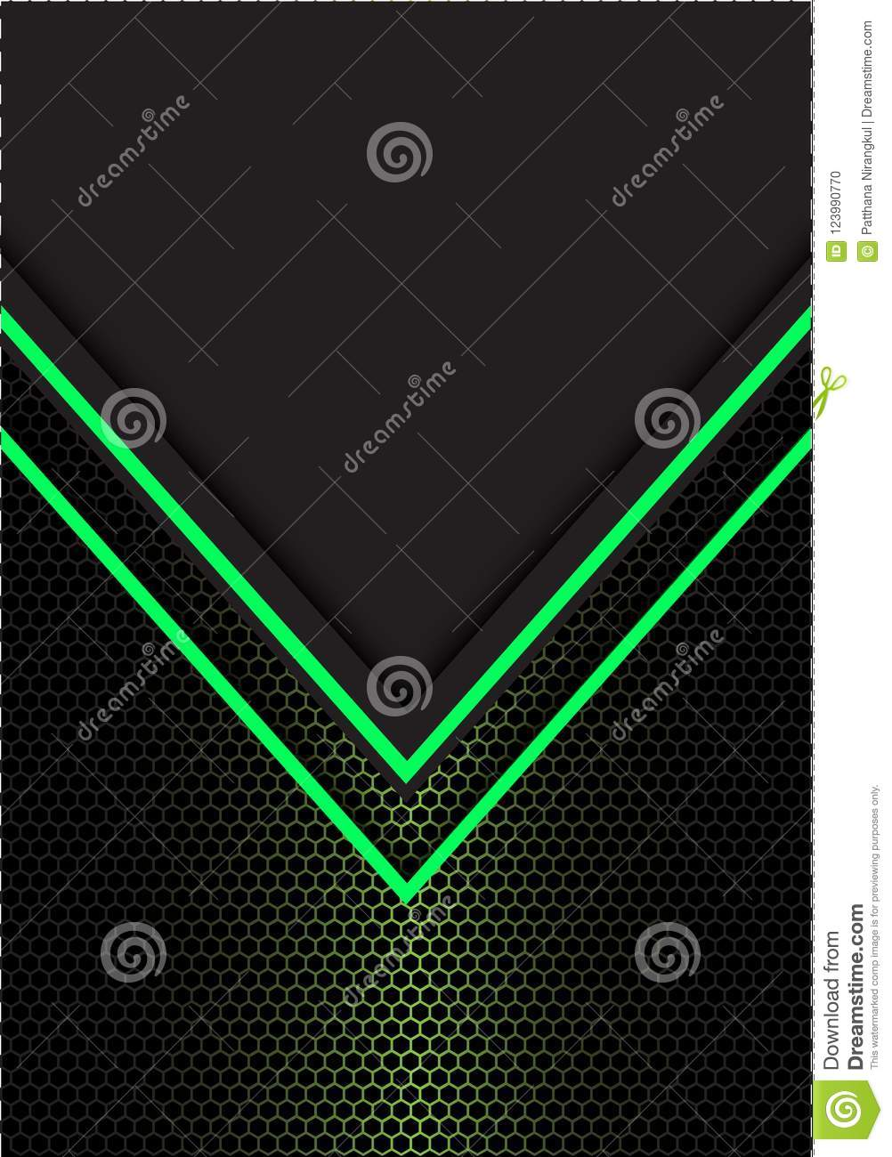 Abstract green arrow light direction hexagon mesh with dark gray blank space design modern futuristic background vector