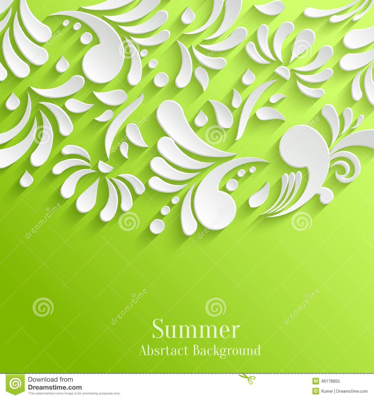 Abstract green background with 3d floral pattern stock for Green plans