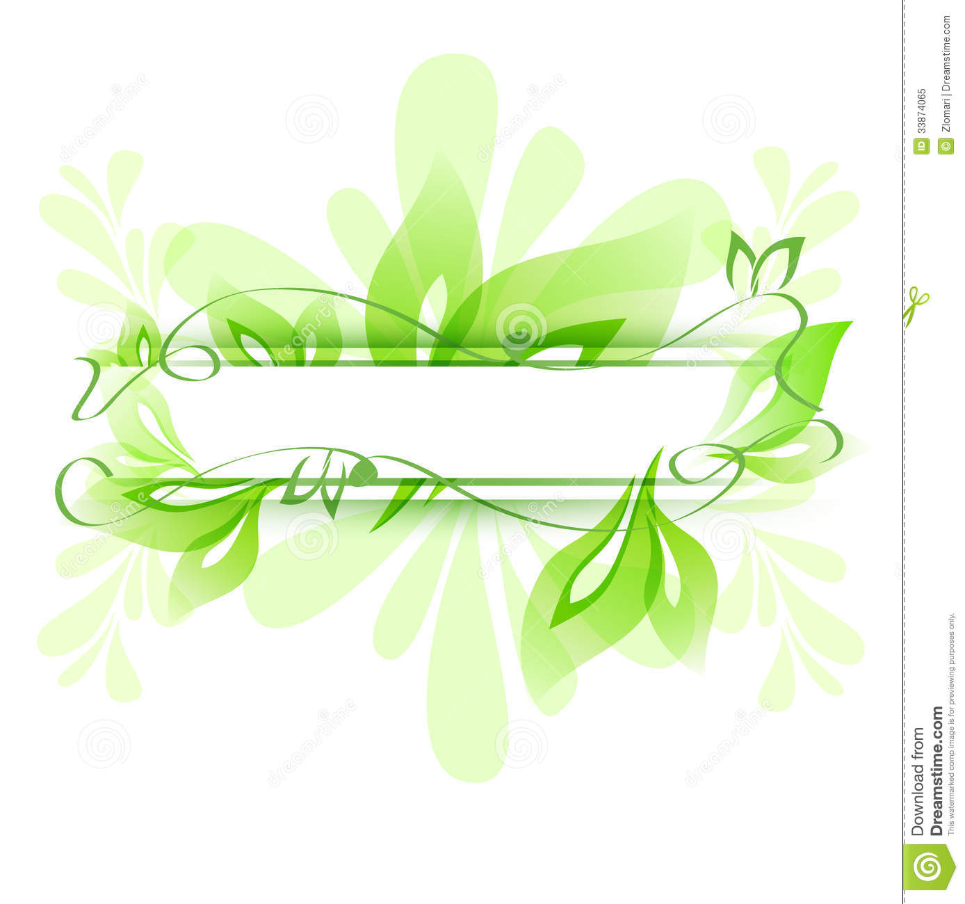 Abstract Flower Background With Decoration Elements For: Abstract Green Background Stock Vector. Illustration Of