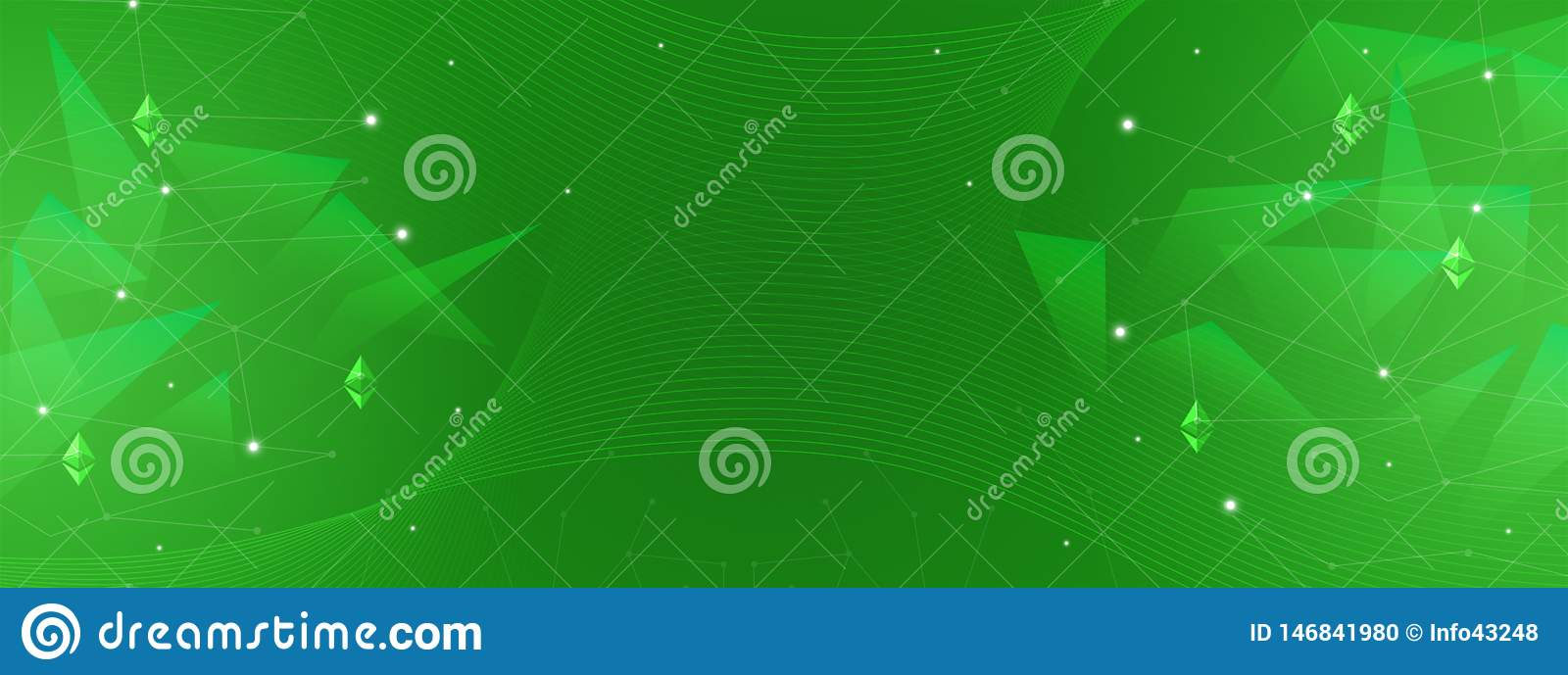 Abstract green background for finance, business, cryptocurrency, blockchain, ethereum, networks