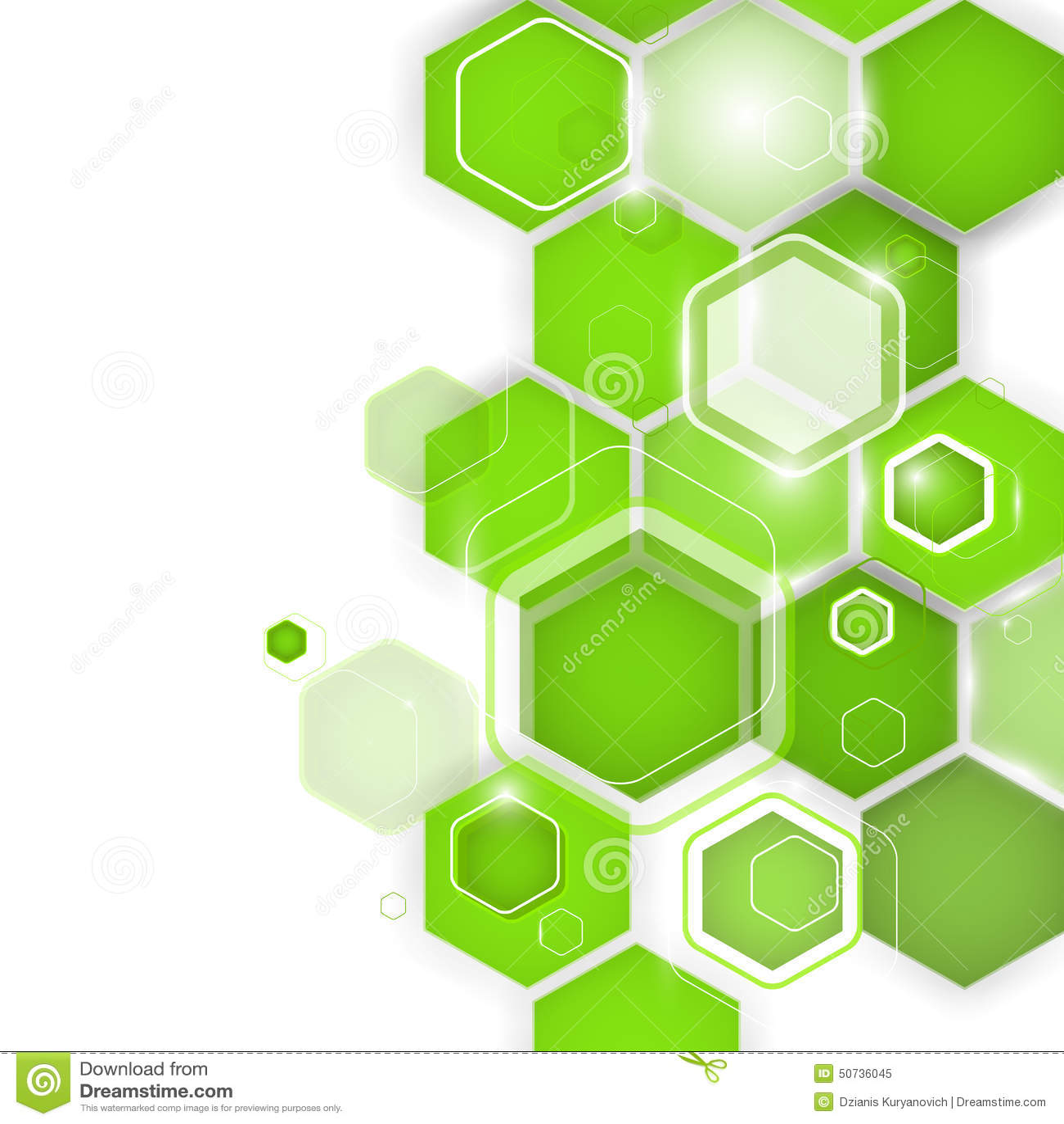 Abstract Green Background Hexagon Vector Illustration
