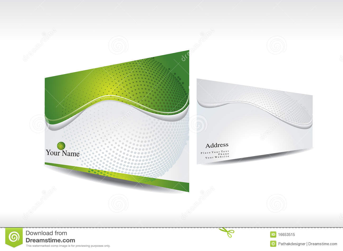 Abstract Green Business Card With 3d Presentation Royalty