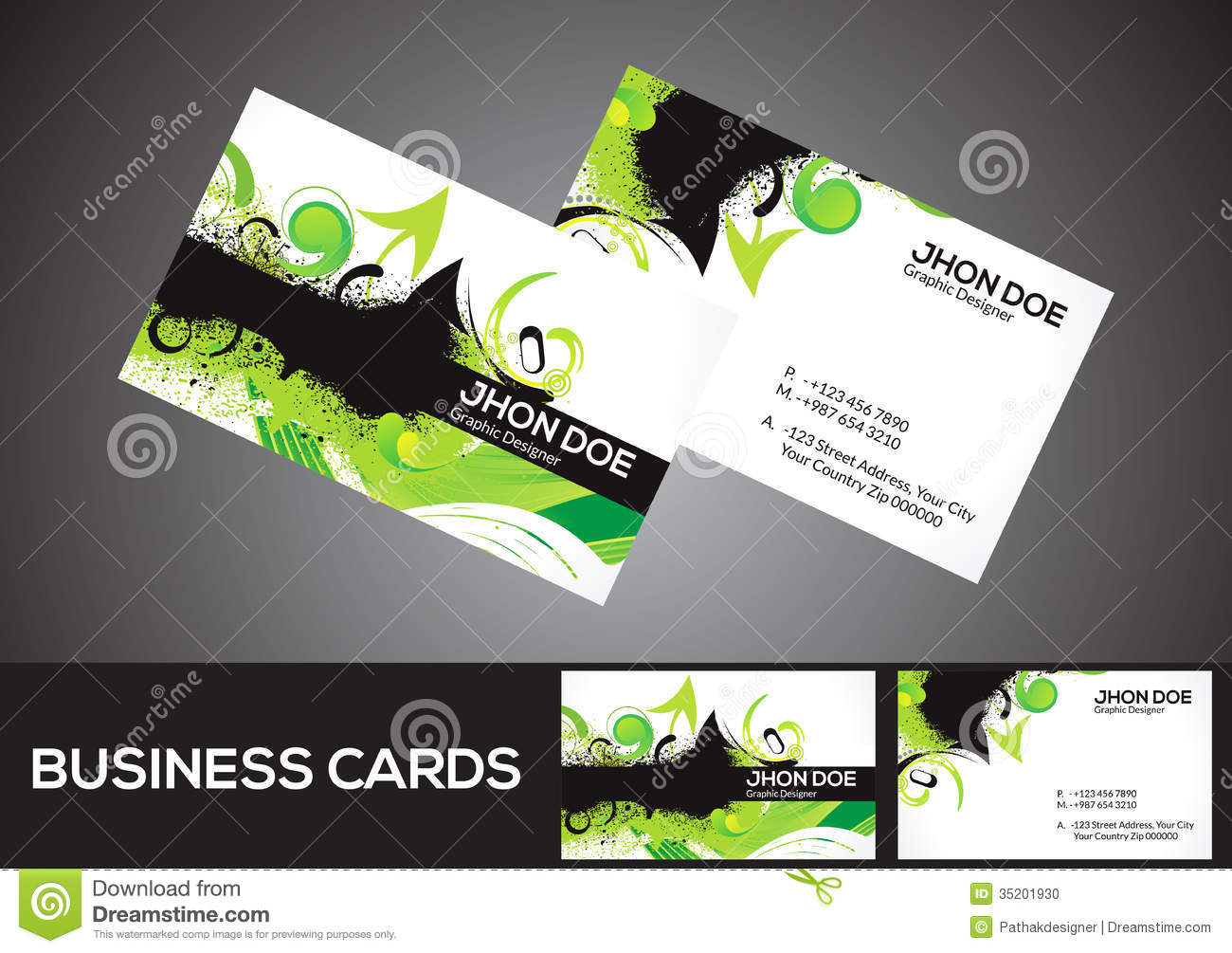 abstract green business card template stock vector illustration of