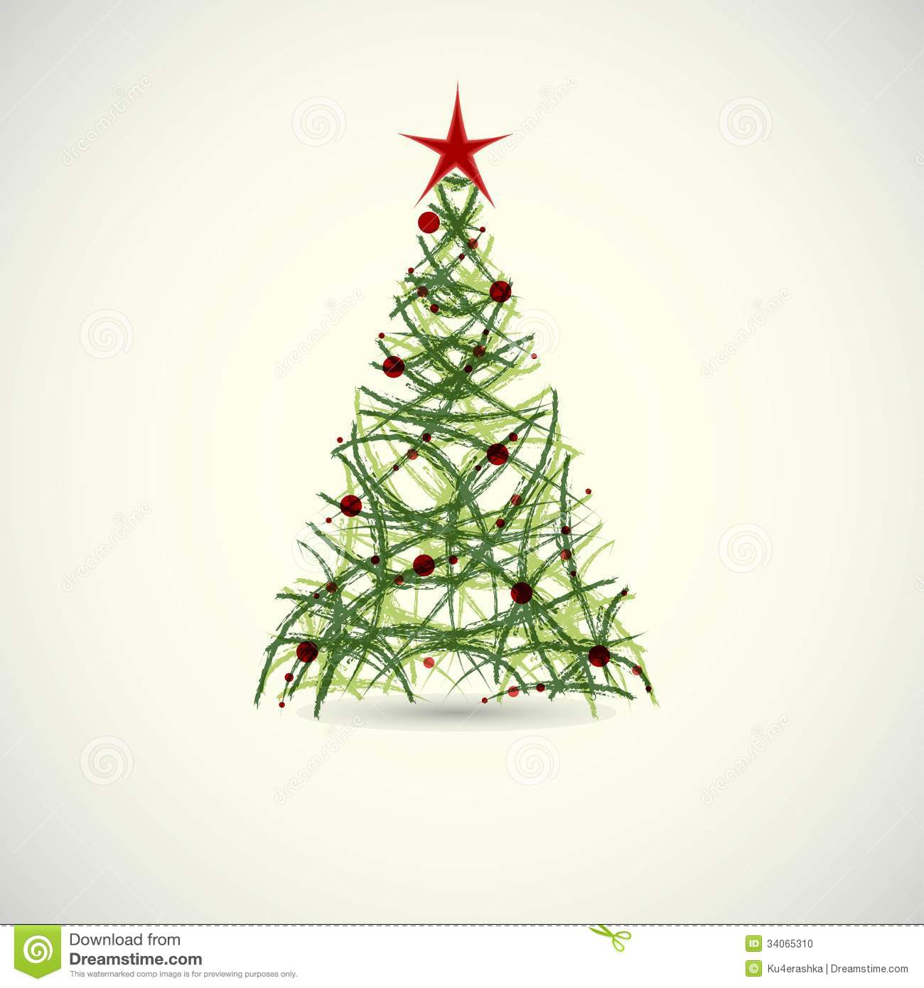 Abstract green christmas tree vector stock photo image