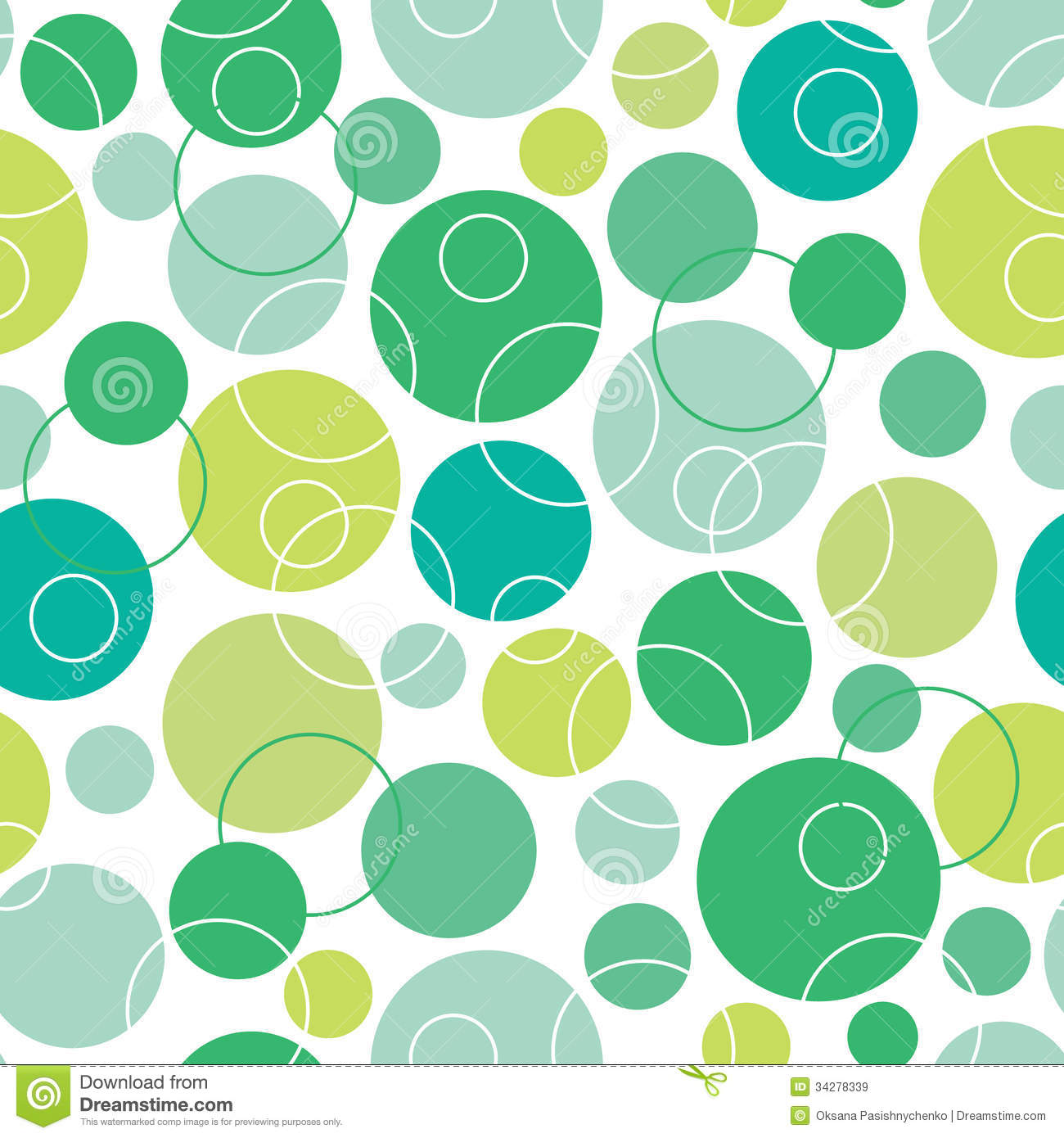 Abstract Green Circles Seamless Pattern Background Royalty ...