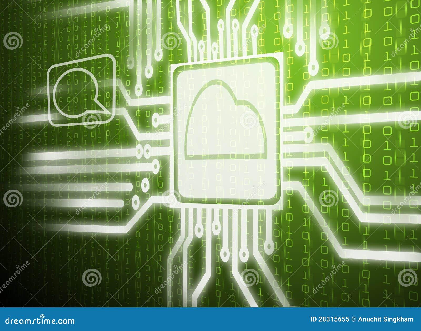 abstract green cloud computing stock image