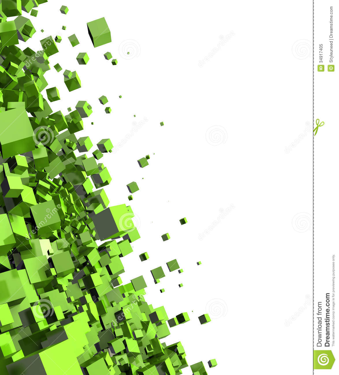 Abstract Green Cubes Background Stock Illustration