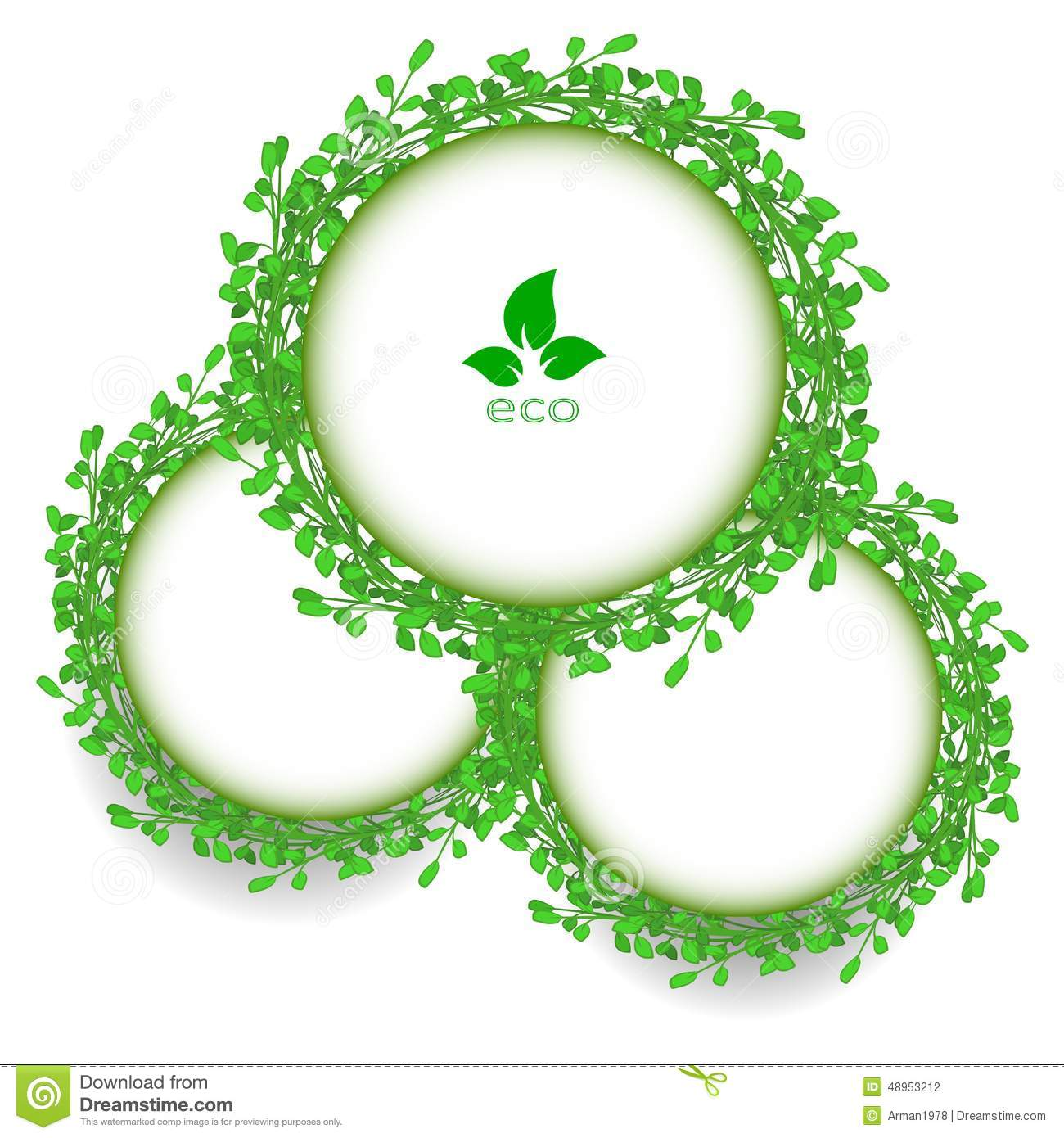 Abstract Green Grass Circle Frame Vector Whit Stock Vector