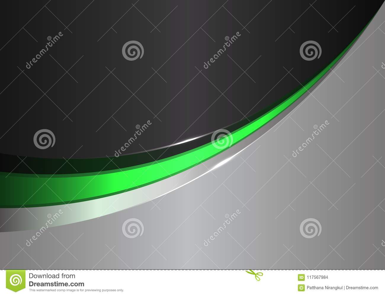 Abstract green line curve on black gray design modern futuristic background vector