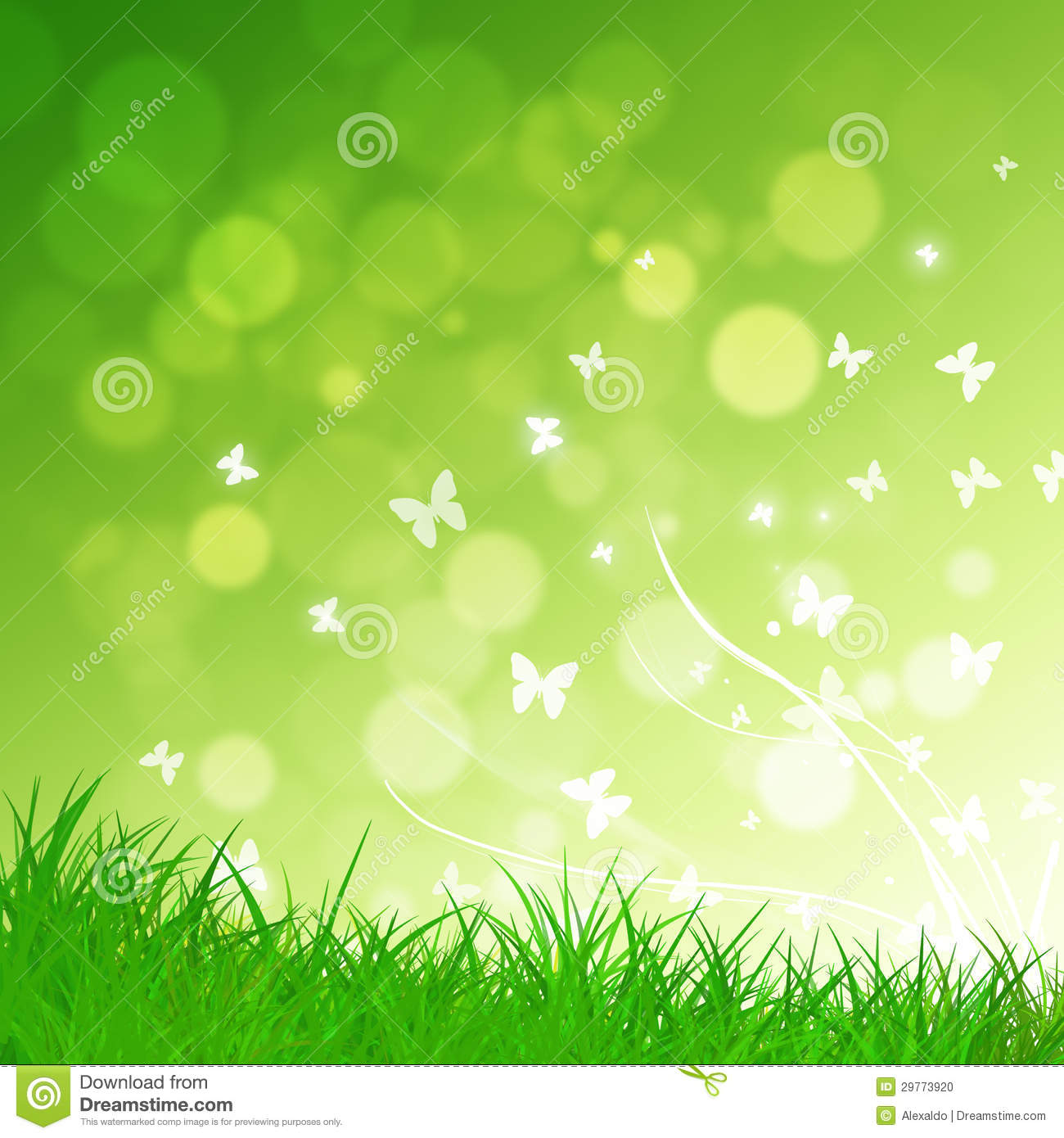 Abstract green nature background with grass and butterflies. Happy Child Clipart