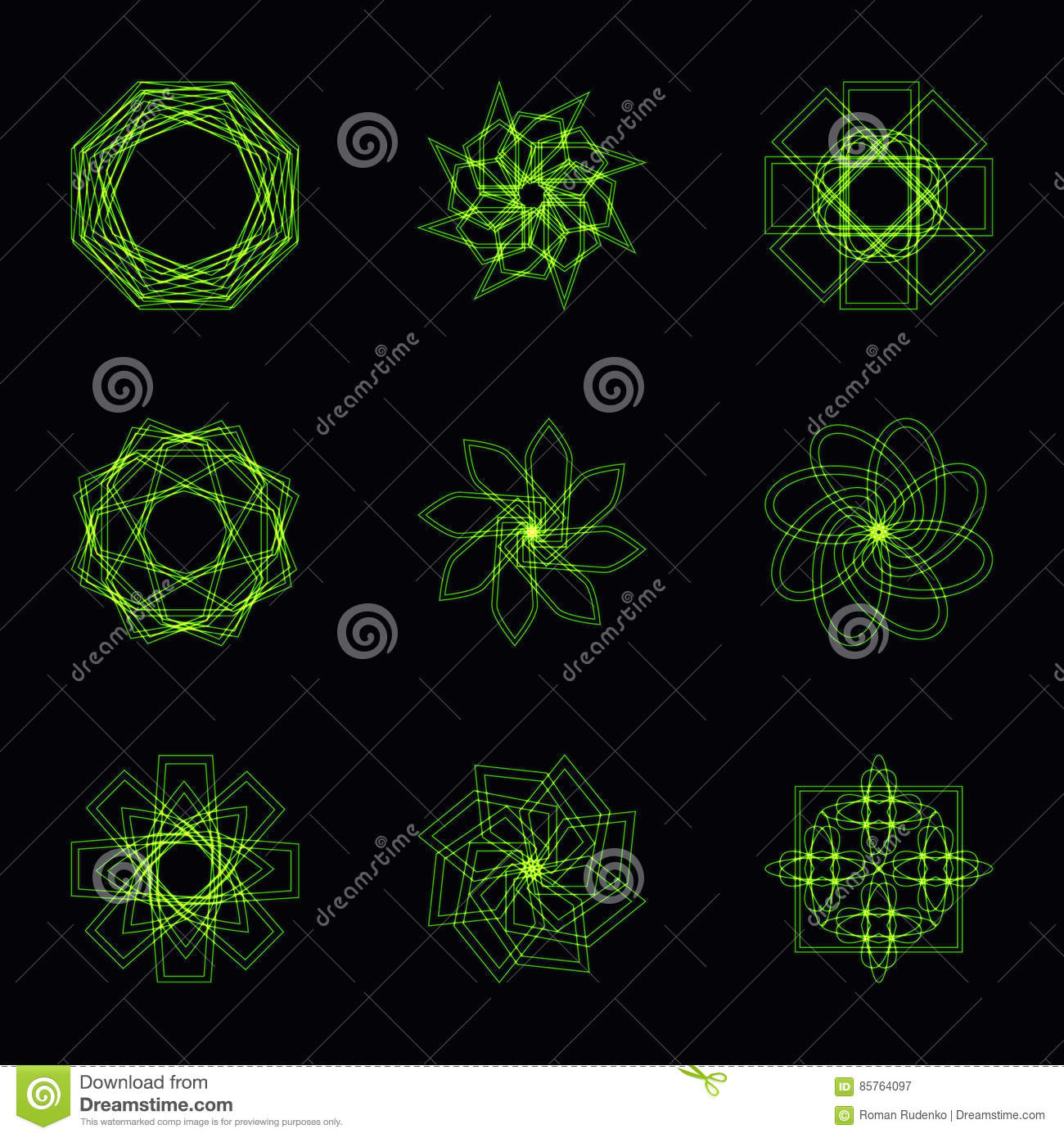 Abstract green neon shape and fractal collection in vector