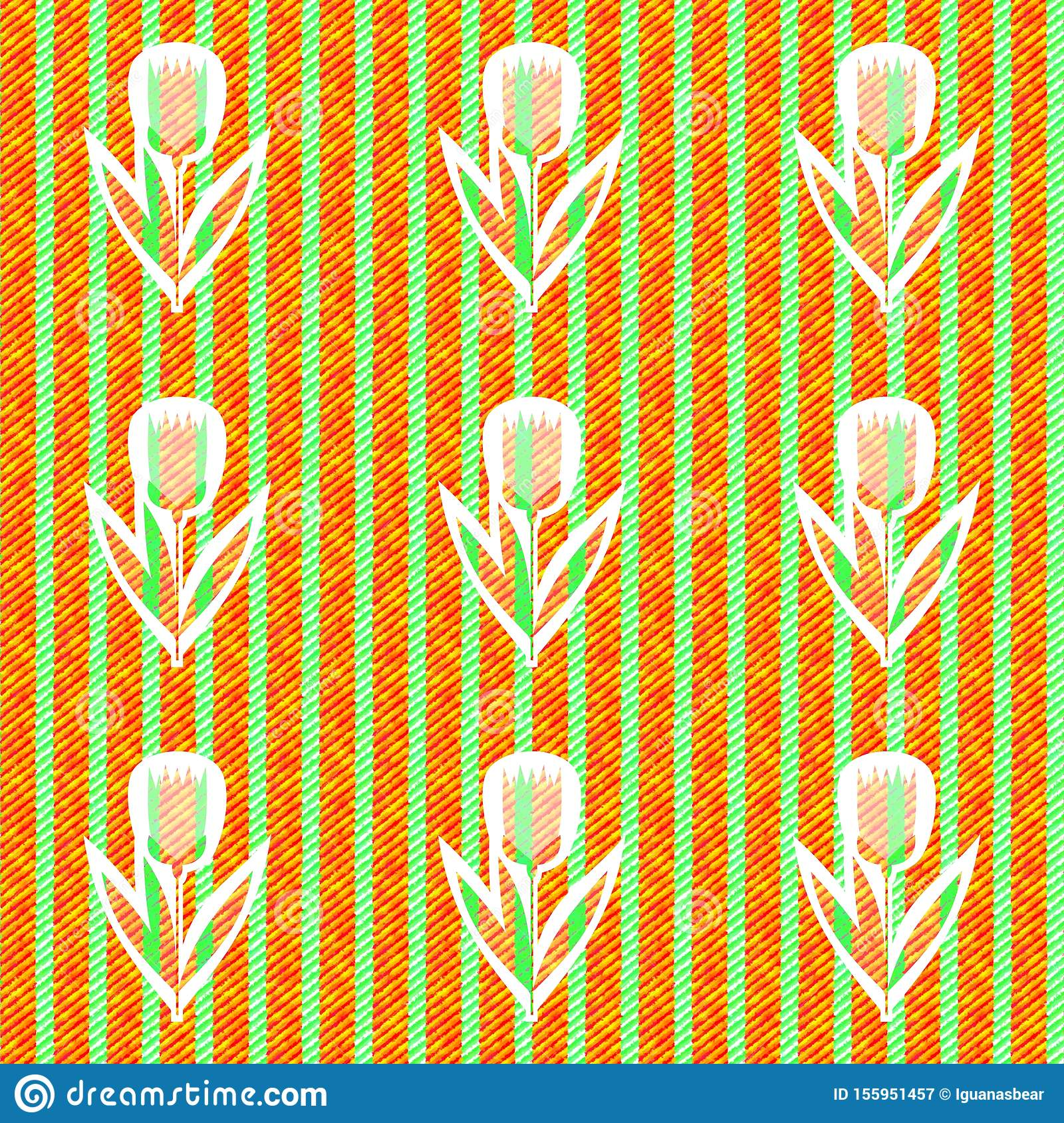 Abstract green orange pattern with cloth texture - digitally rendered seamles floral striped tile