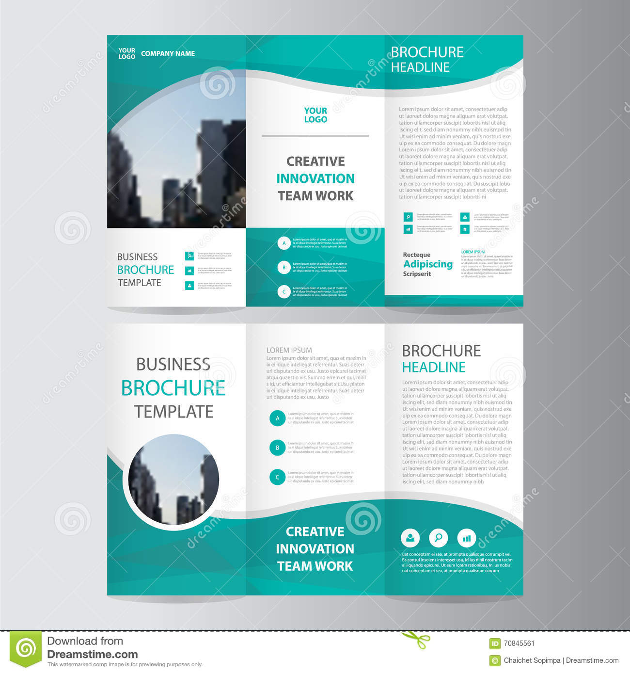Abstract green polygon trifold leaflet brochure flyer for Free template brochure design