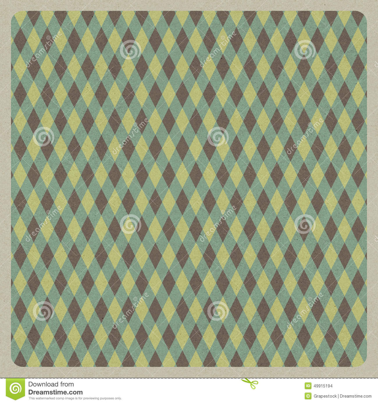 Abstract green retro pattern background, recycled paper craft