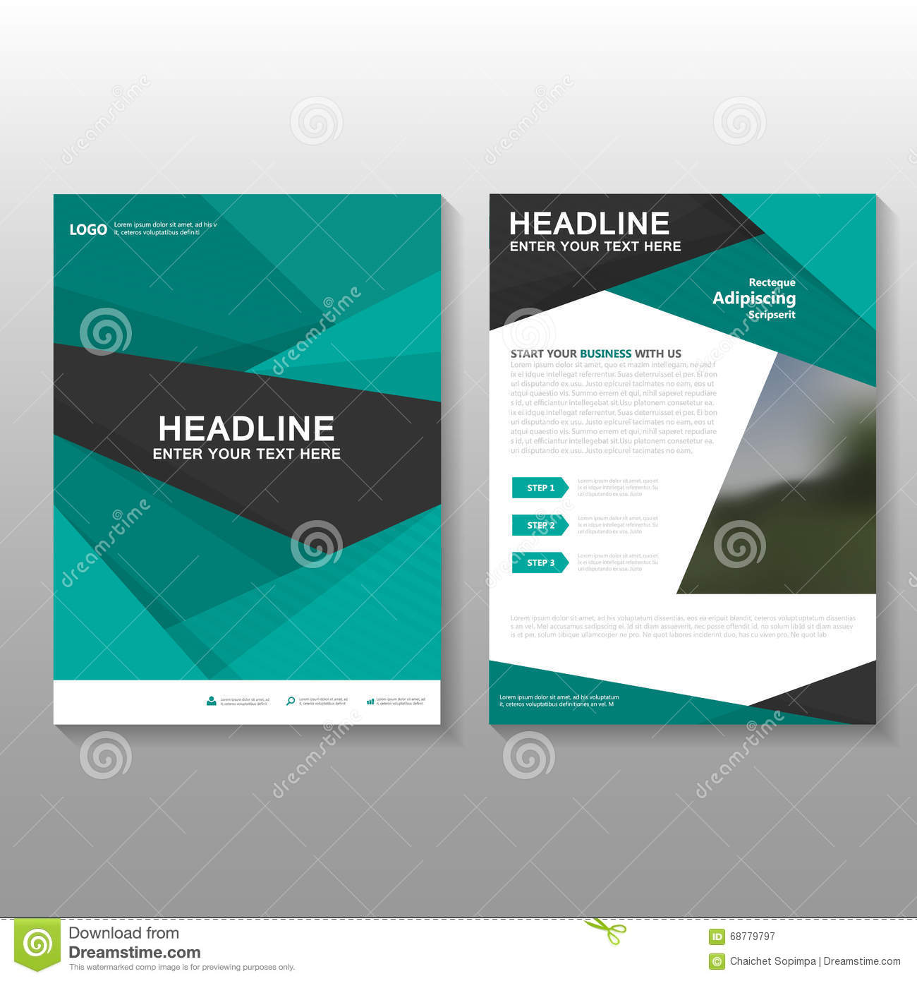 Abstract Green Vector Leaflet Brochure Flyer Business