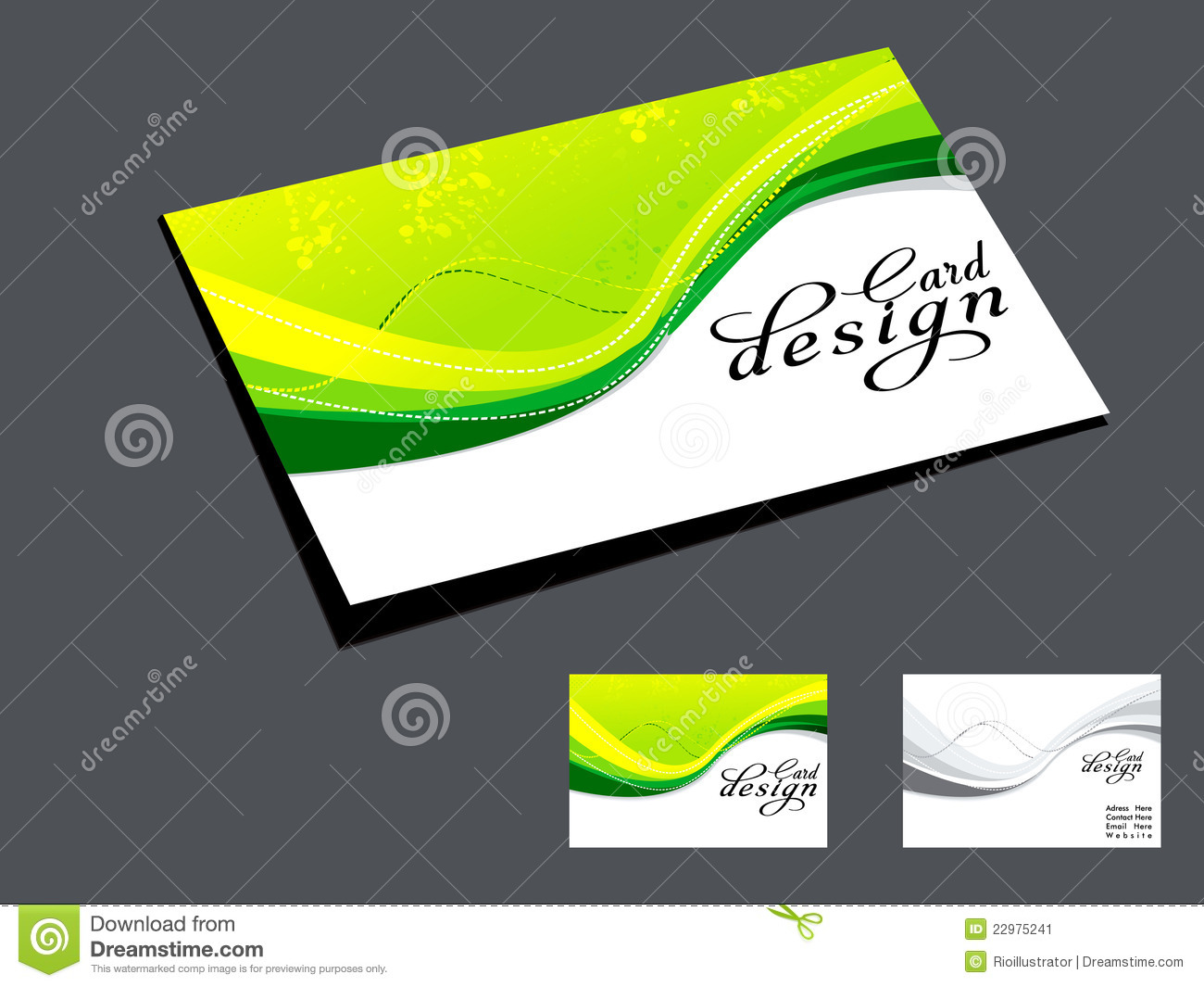 abstract green wave business card stock image  image: 22975241