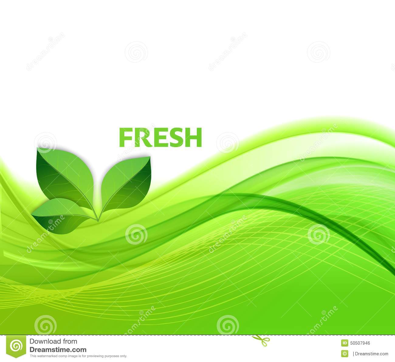 Abstract green waves background with leaves stock vector for Green design company