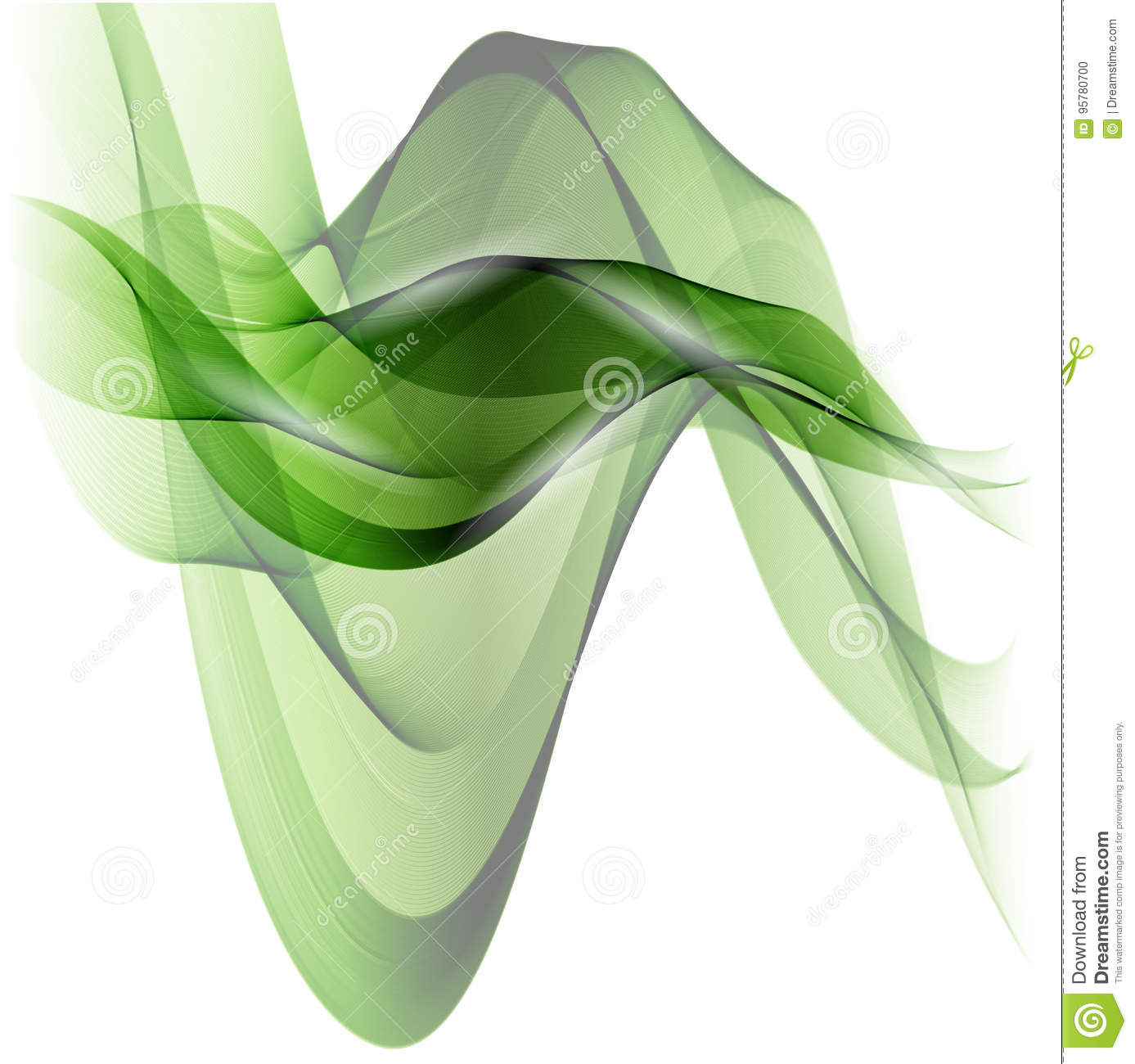 Abstract Green Wavy Lines Colorful Vector Background Green Smoke