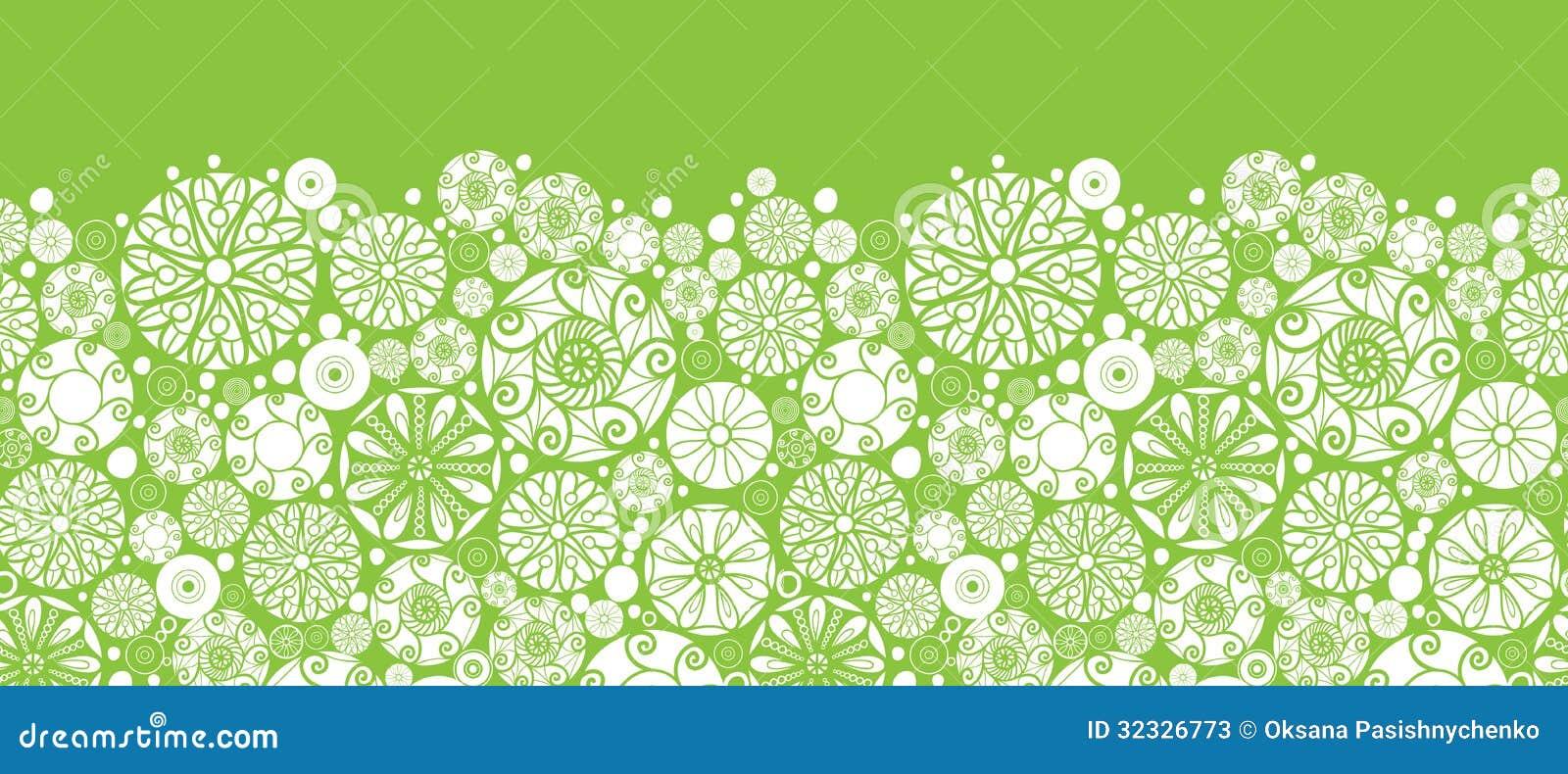Abstract Green And White Circles Horizontal