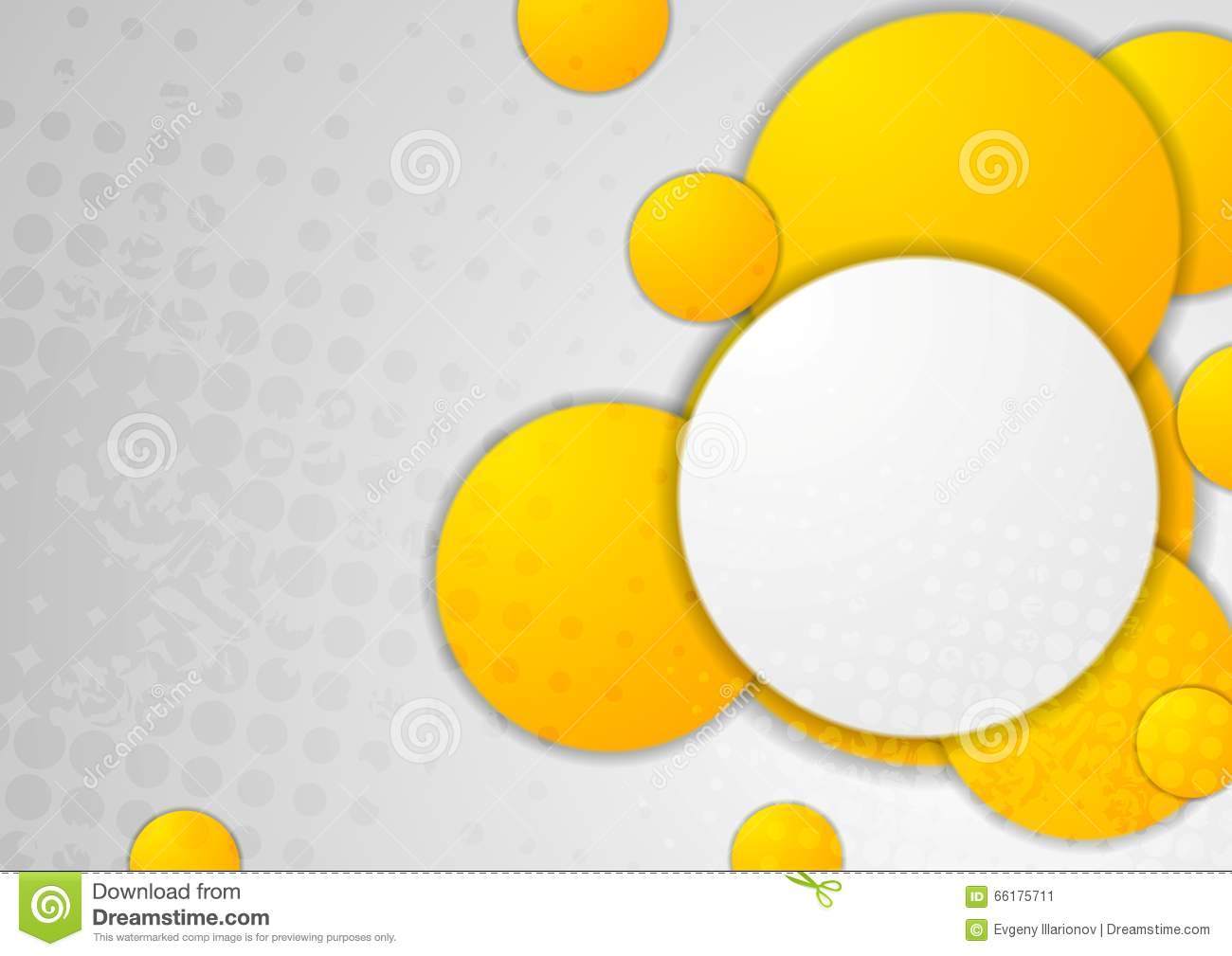 abstract grey grunge background with orange circles stock vector