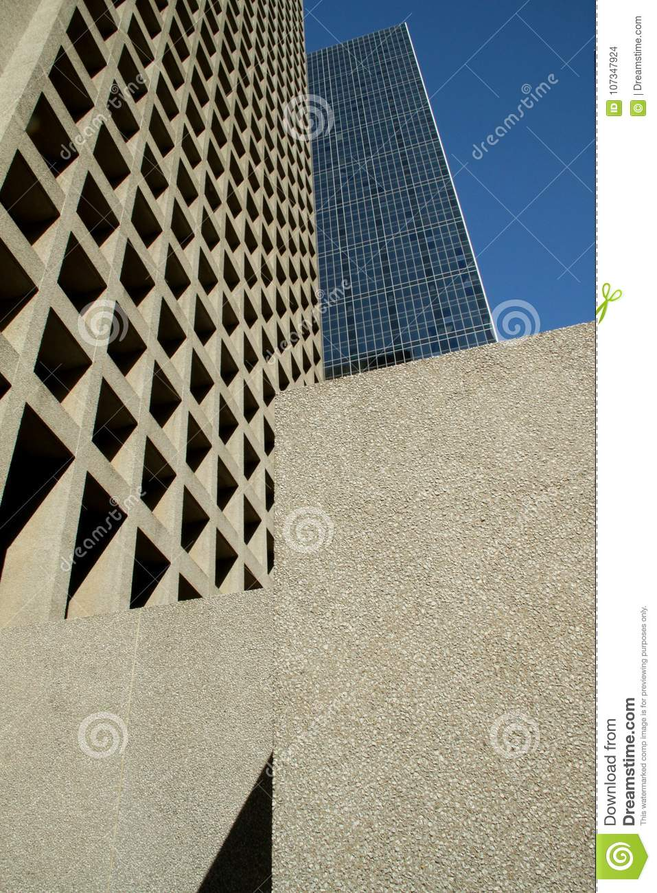 Abstract grid of windows in modern buildings