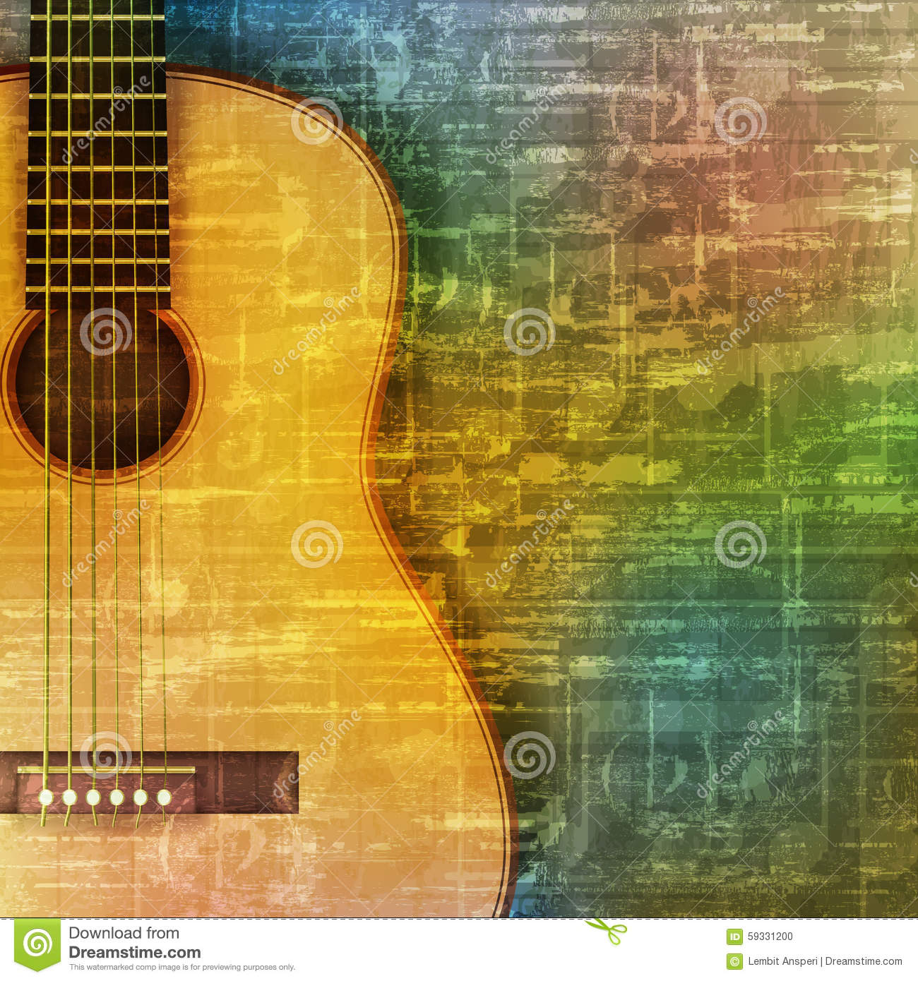 Abstract Grunge Background With Acoustic Guitar Stock ...