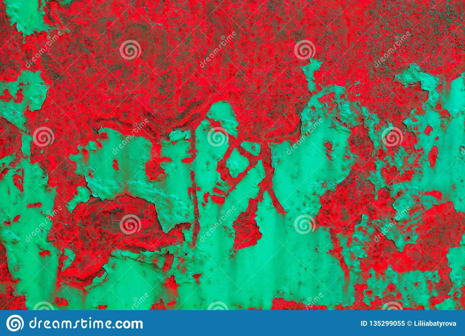Abstract grunge background. Detailed red-and-green texture