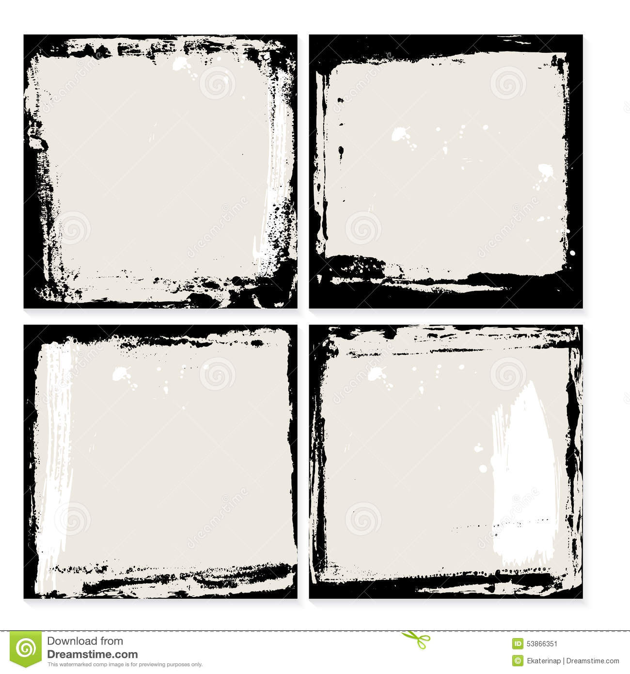 abstract grunge frame set black and beige background template vector