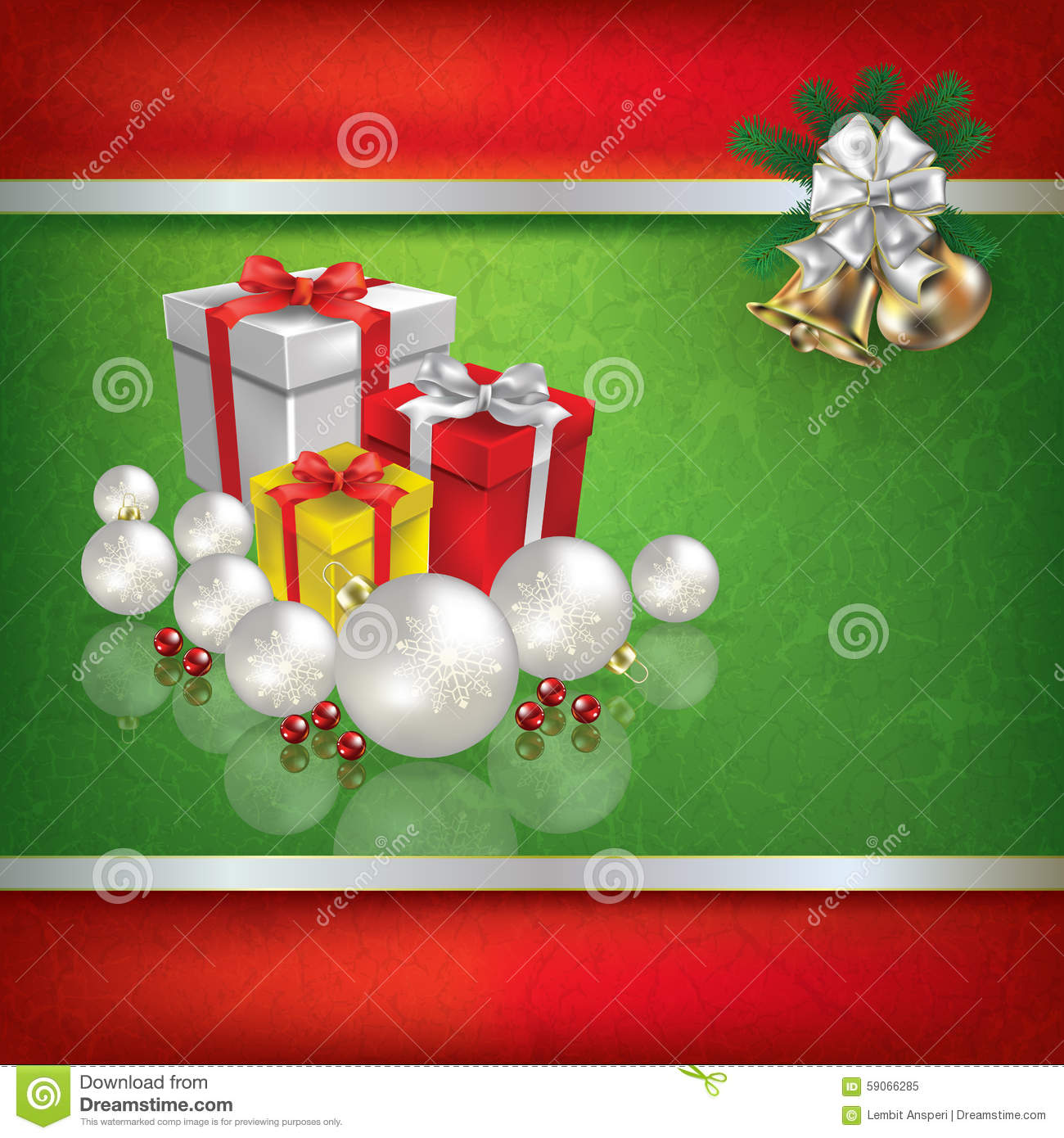 Abstract grunge green background with christmas gifts