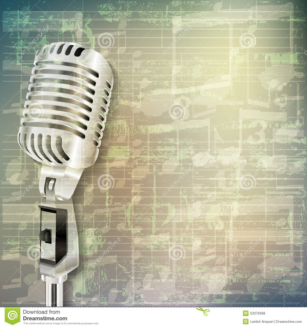 Abstract Grunge Music Background With Retro Microphone Stock ...