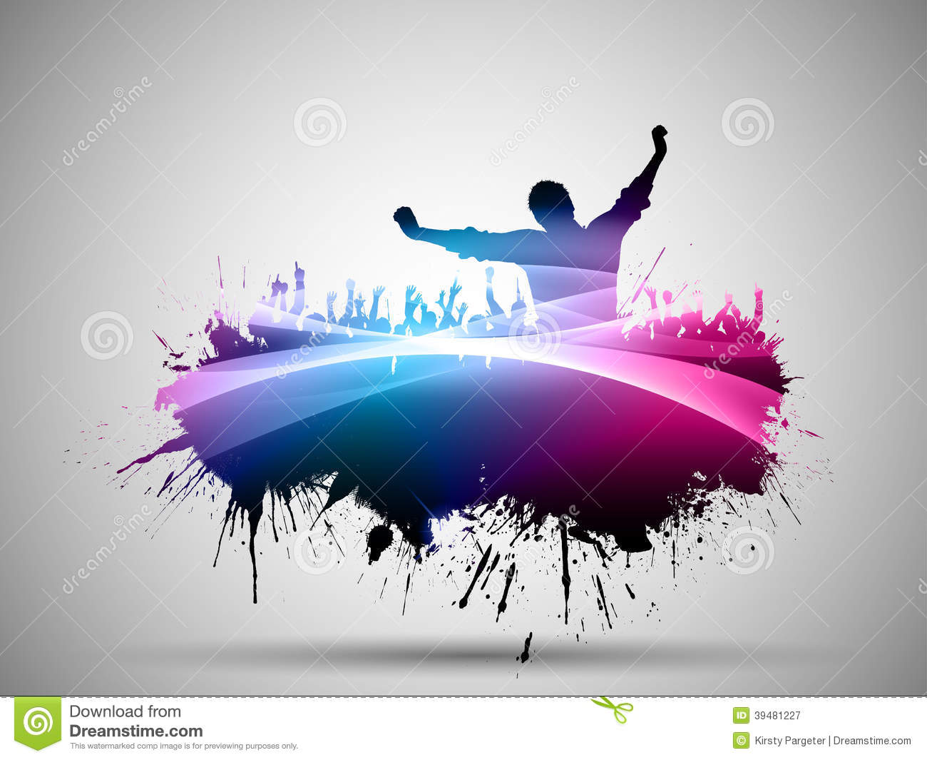 Silhouette Dance Music Abstract Background: Abstract Grunge Party Background Stock Vector