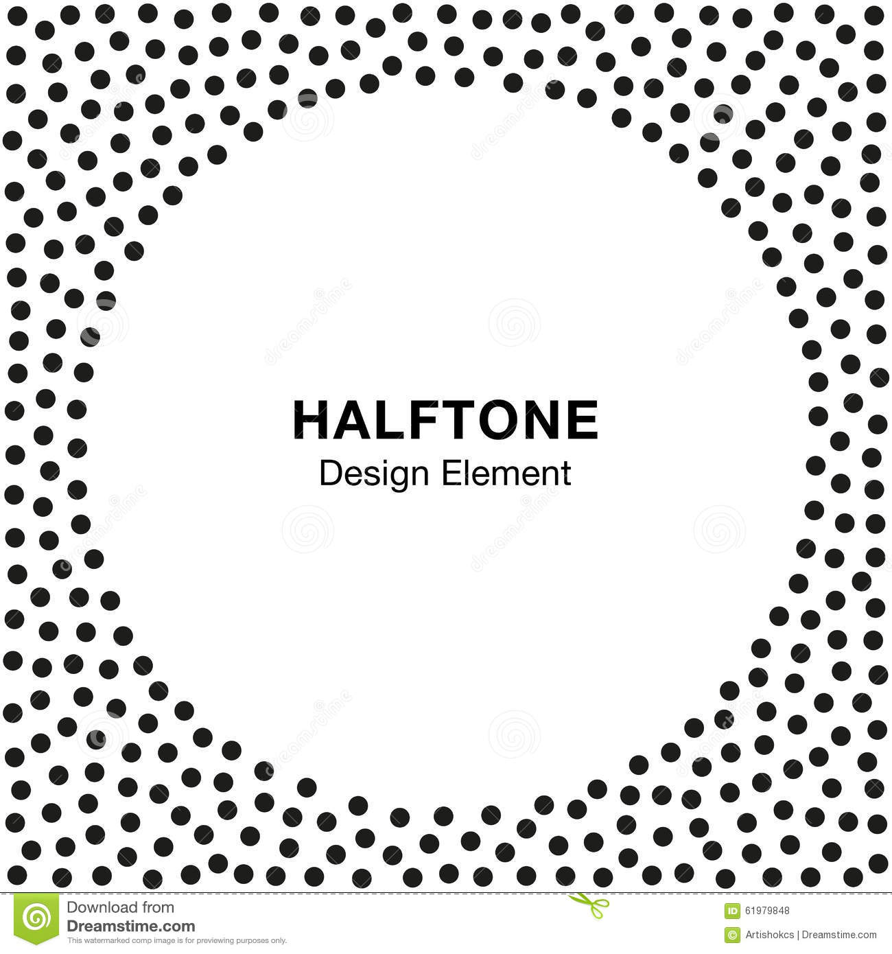 Abstract Halftone Dots Frame. Circle Background.