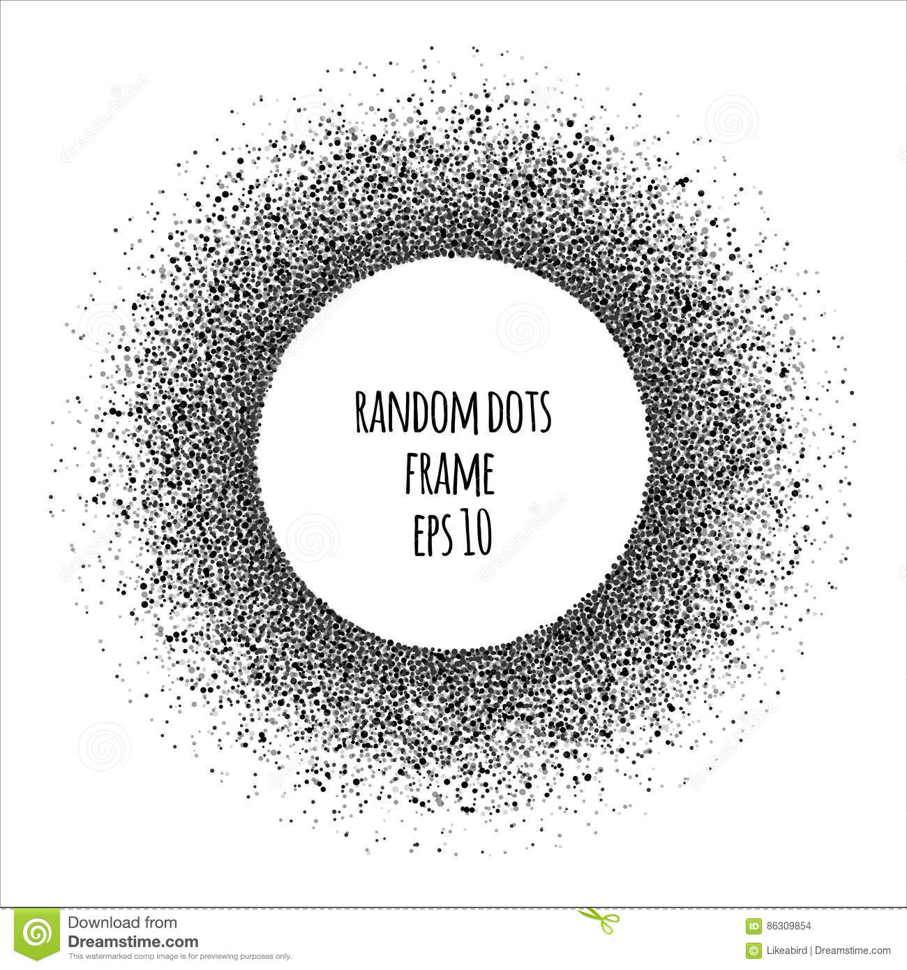 abstract  halftone  randomly scattered dots round frame Halftone Dots Vector Vector Halftone Circle