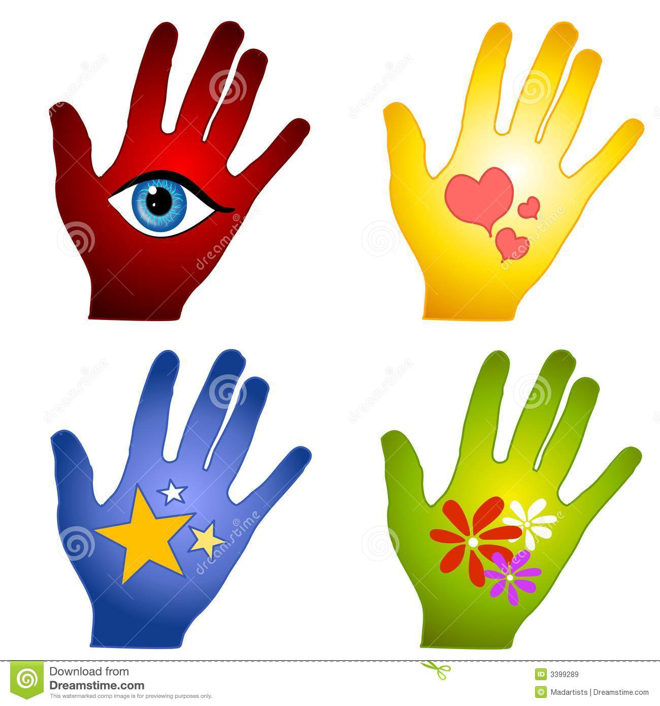 clip art illustration of your choice of 4 different colorful hands ...