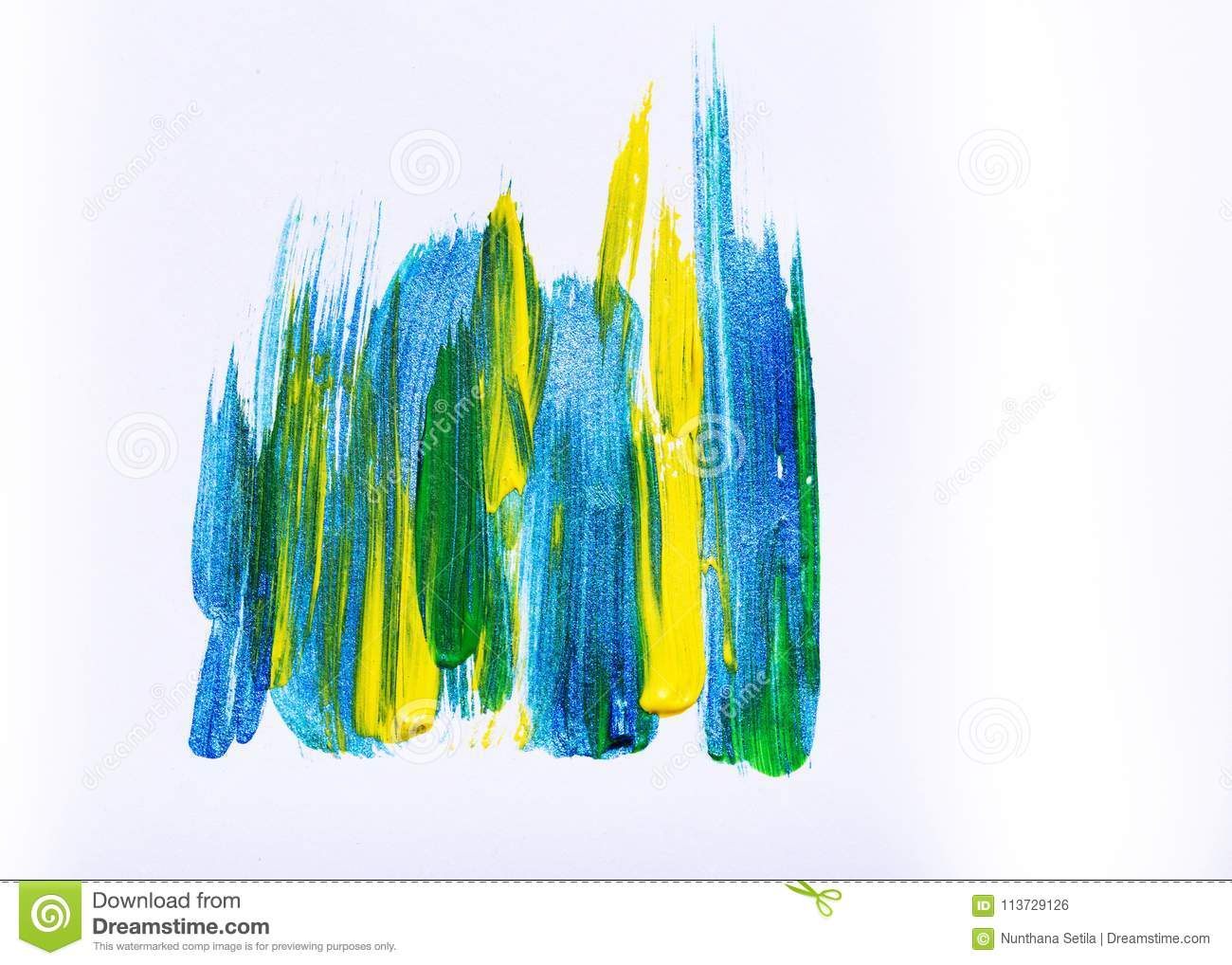 Abstract hand drawn acrylic painting creative art background.Closeup shot of brushstrokes colorful acrylic paint on canvas with b