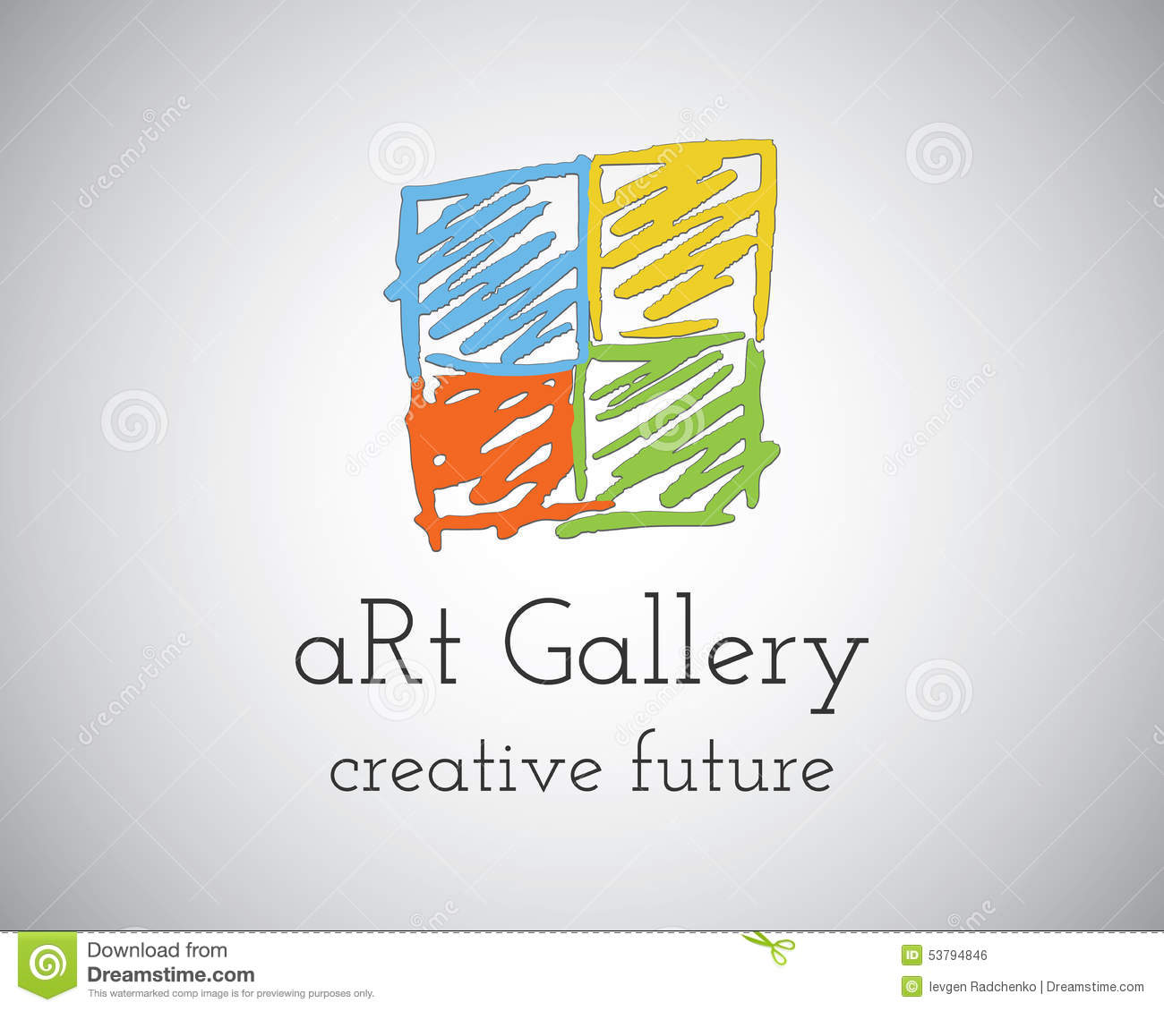 abstract hand drawn art gallery logo design stock