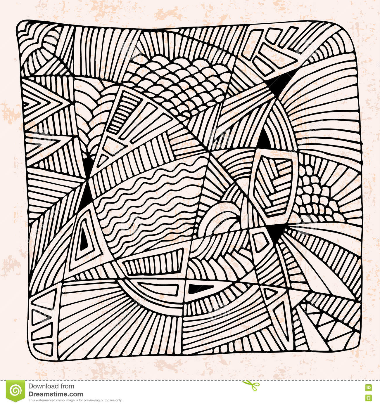 Abstract hand drawn background with different patterns