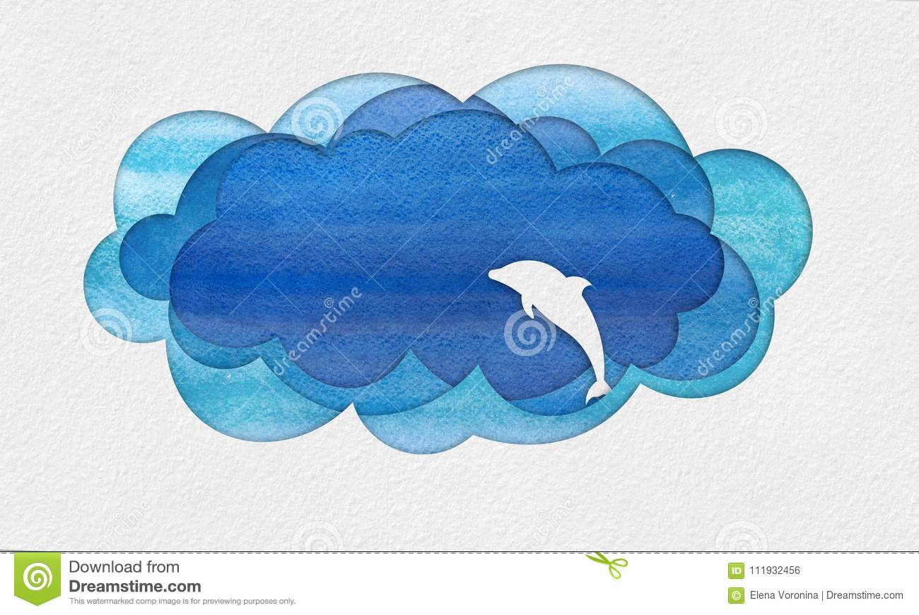 Cutout seascape applique with dolphin stock illustration
