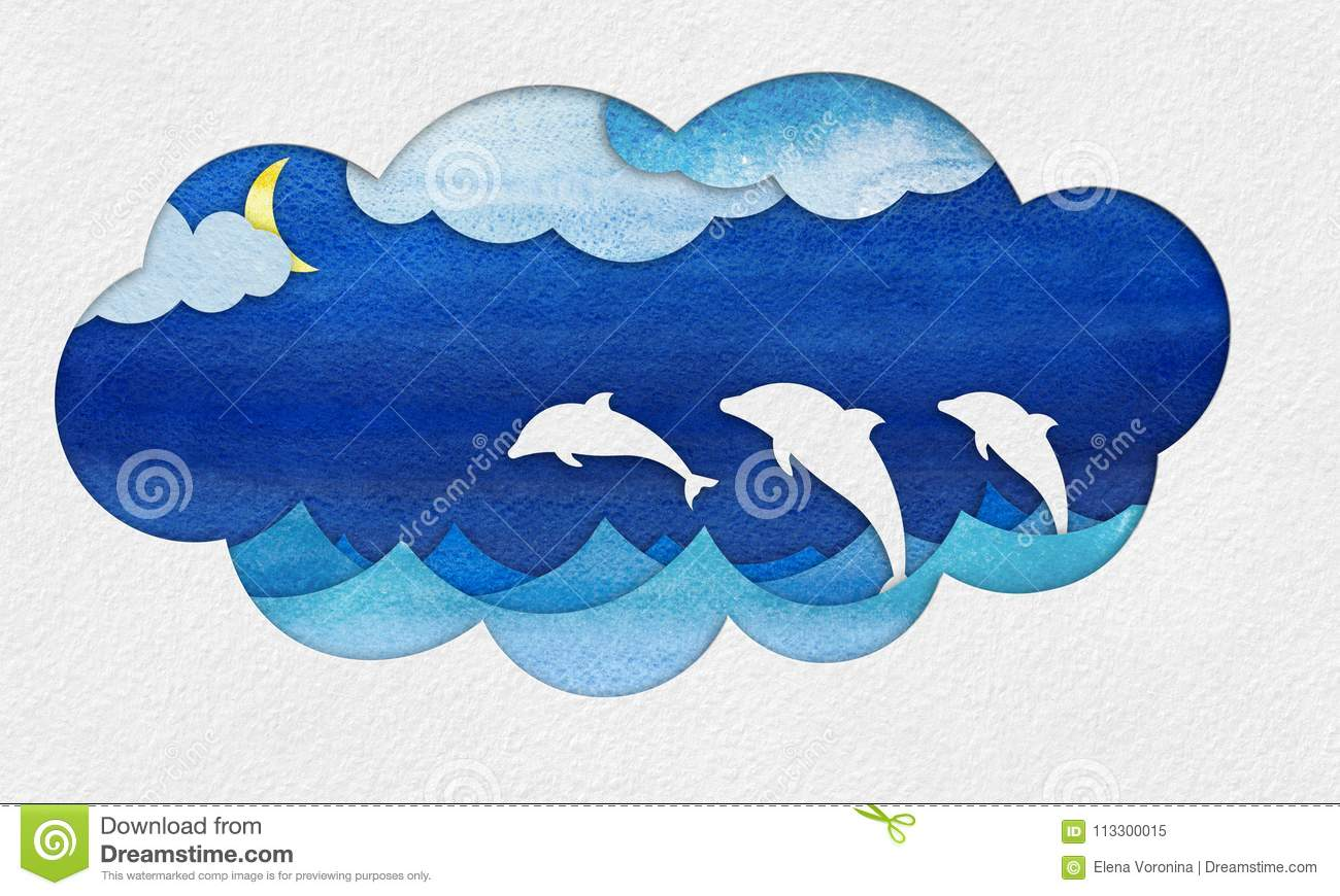 Cutout seascape applique with dolphins stock illustration