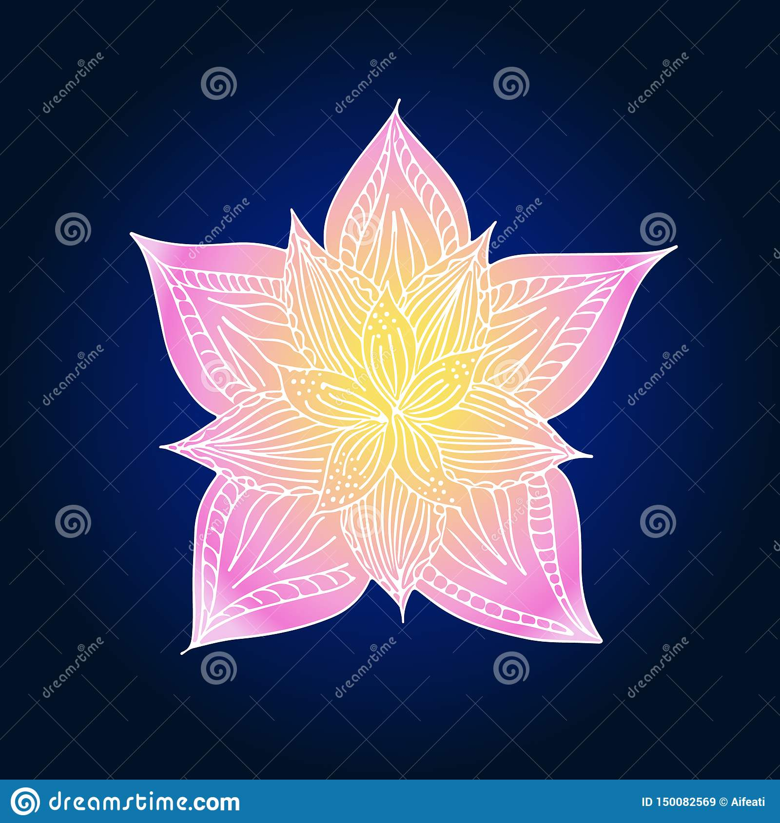 Abstract hand drawn lotus flower. illustration. Line art. Top view