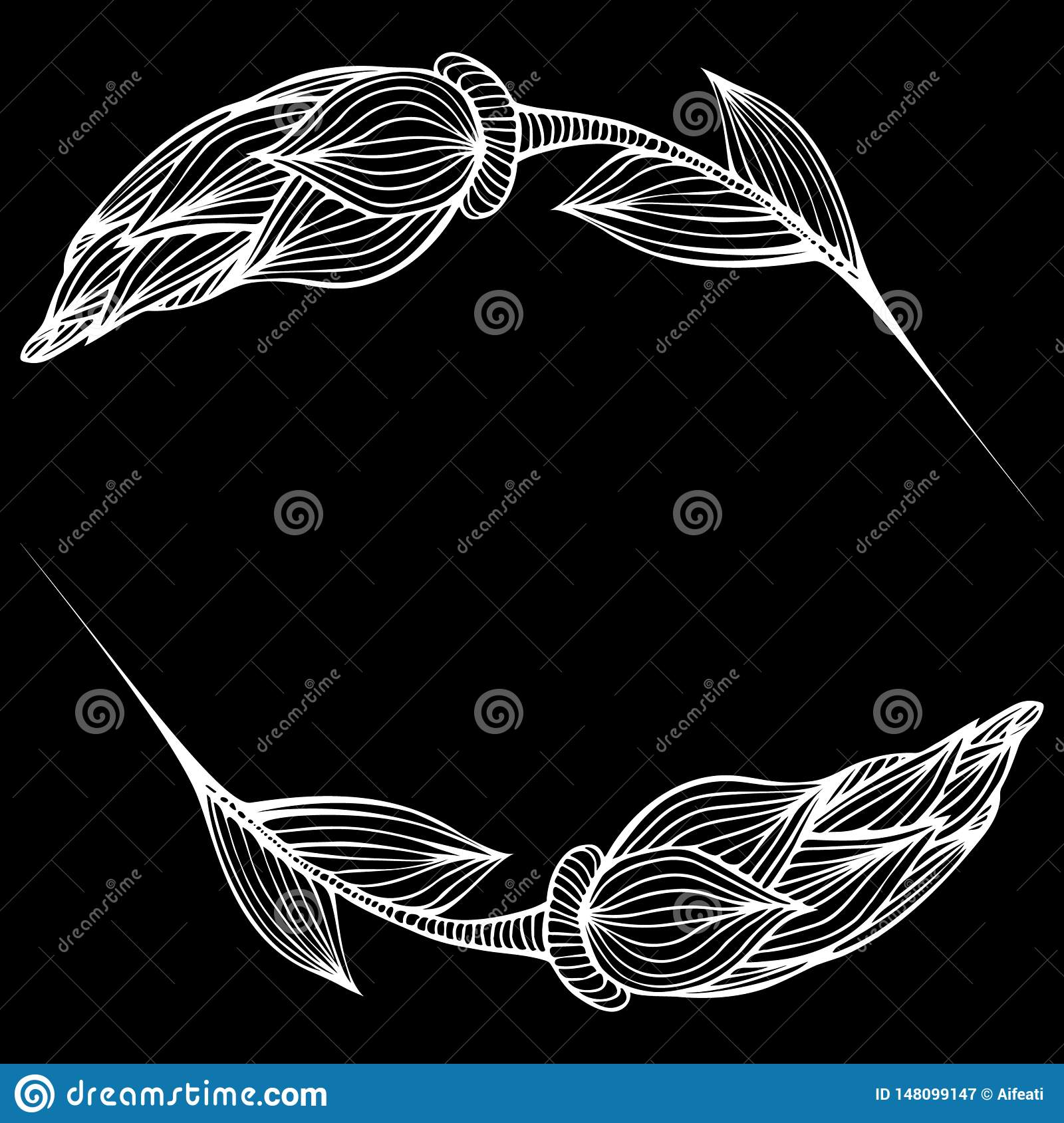 Abstract hand drawn of two rose flowers isolated on black background. Vector illustration. Line art. Sketch